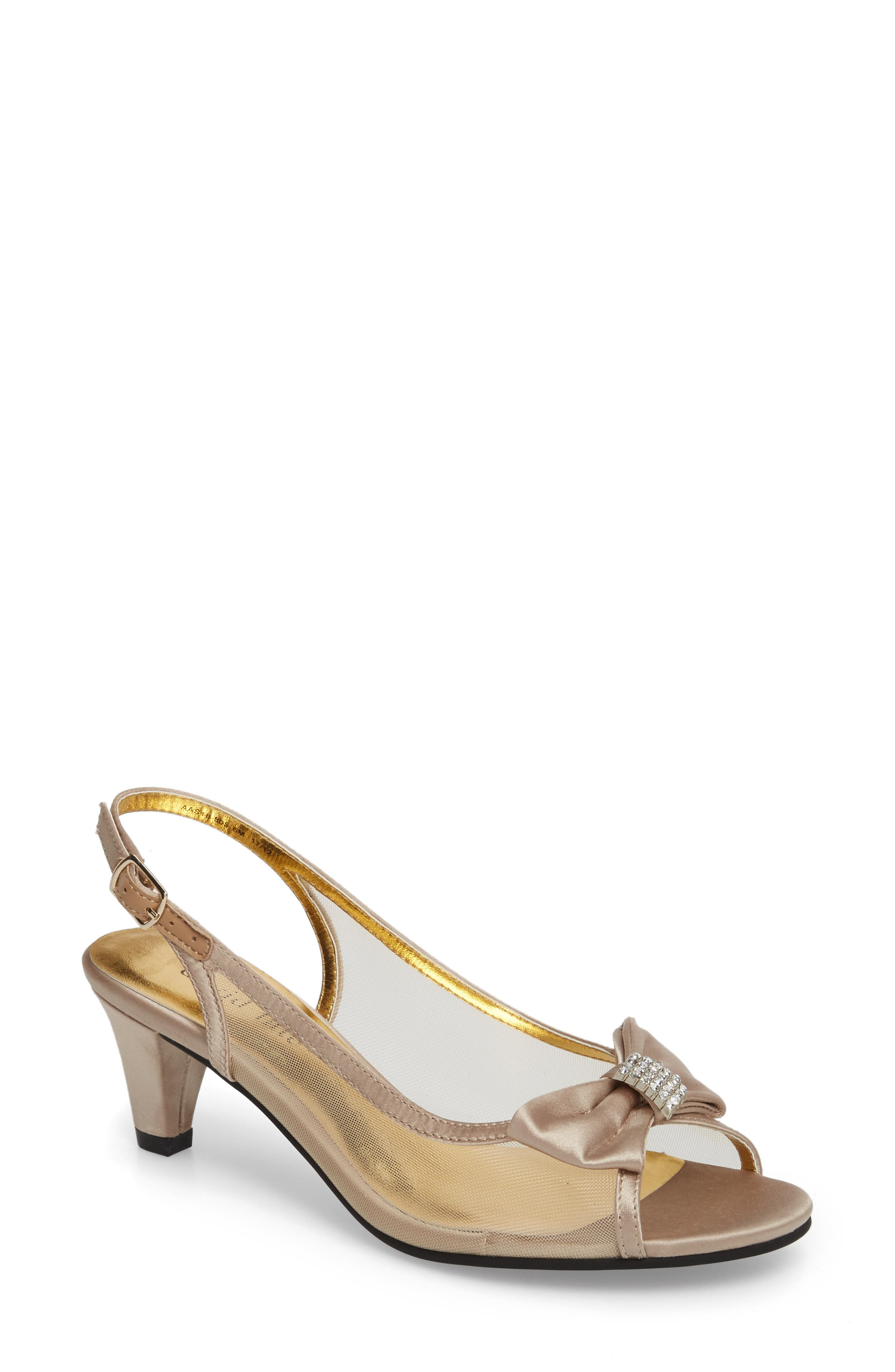 Foxy Slingback Sandal,                         Main,                         color, Champagne Satin