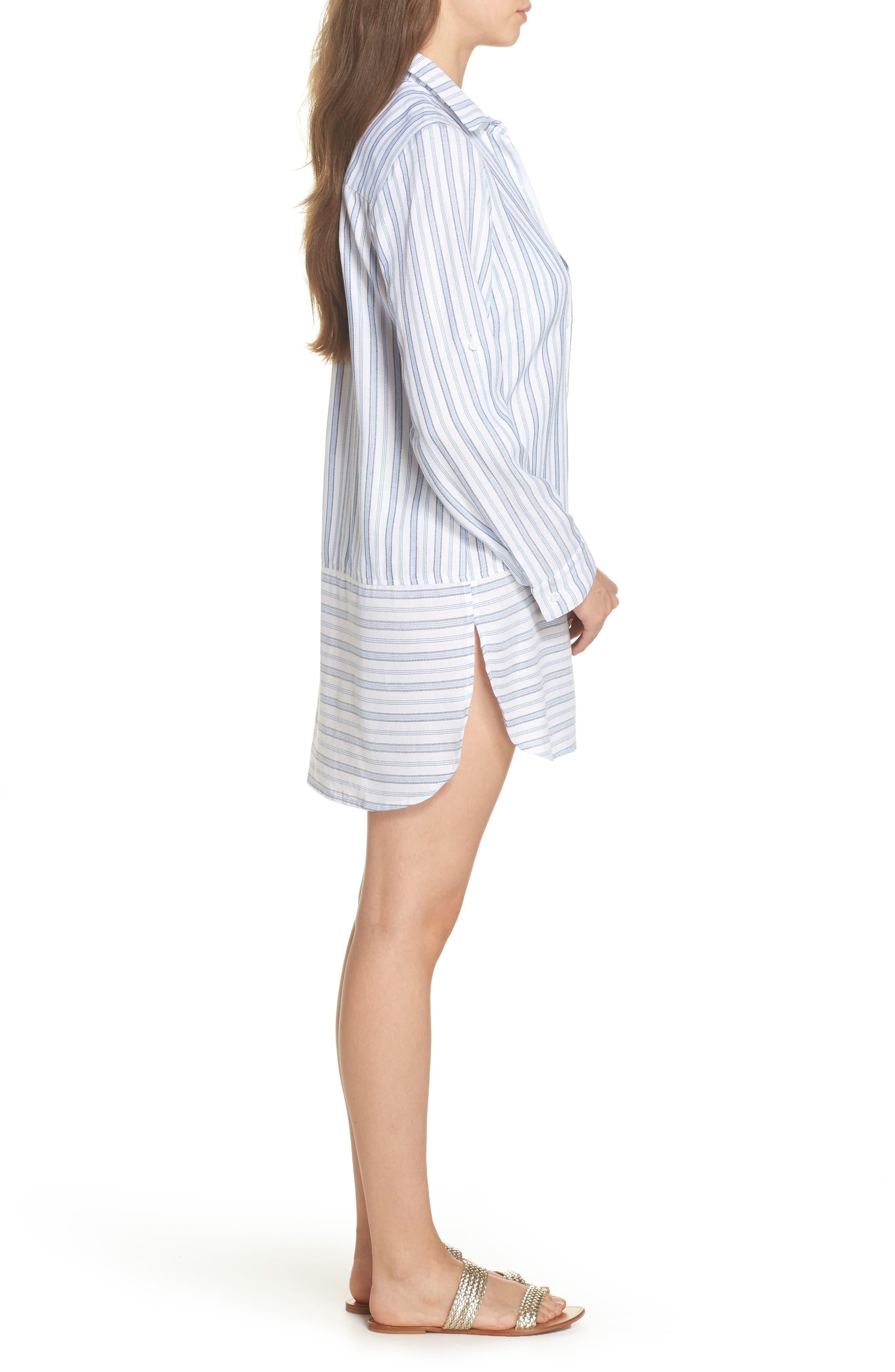 Ticking Stripe Cover-Up Shirtdress,                             Alternate thumbnail 3, color,                             White