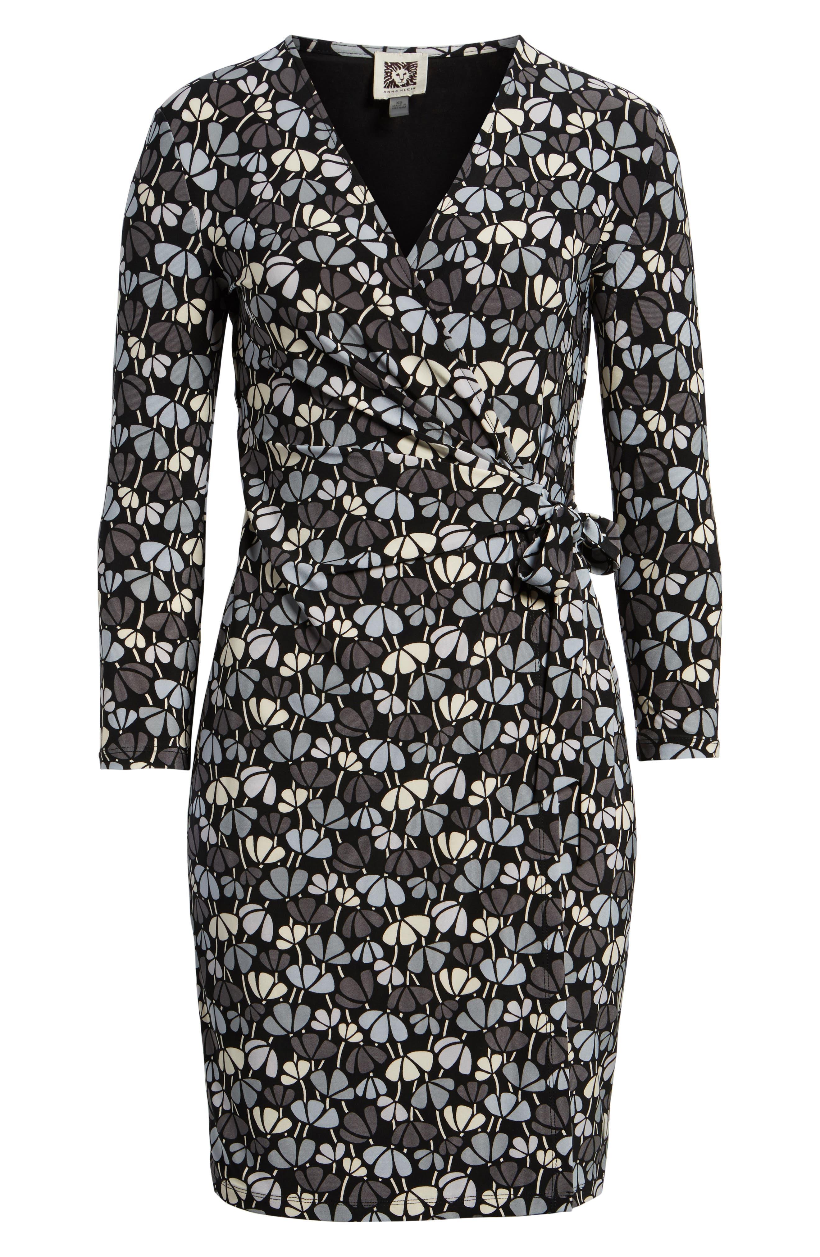 Flowerfall Faux Wrap Dress,                             Alternate thumbnail 6, color,                             Black/ Summit Blue Combo