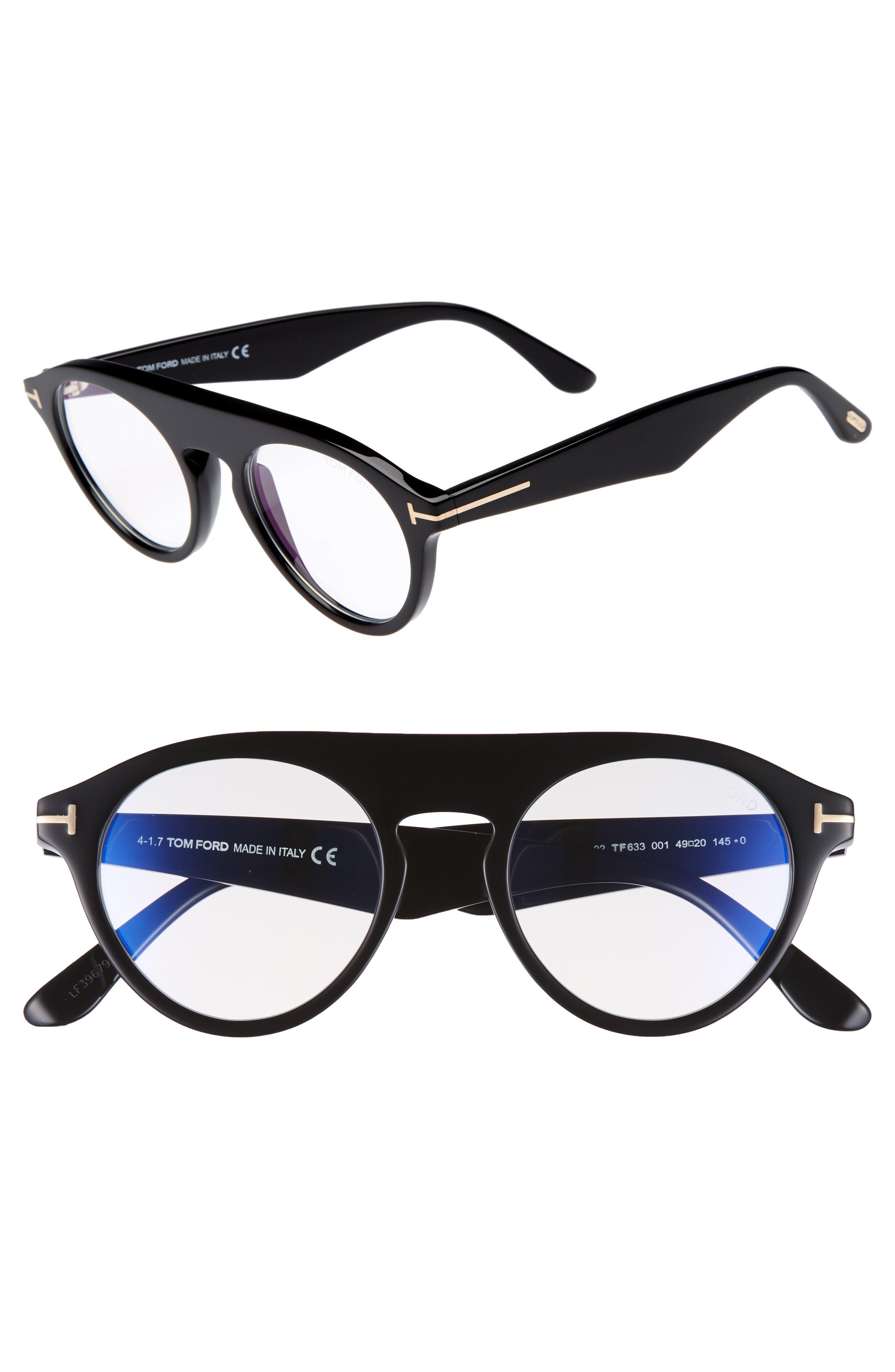 Tom Ford Christopher 49mm Round Blue Block Optical Glasses