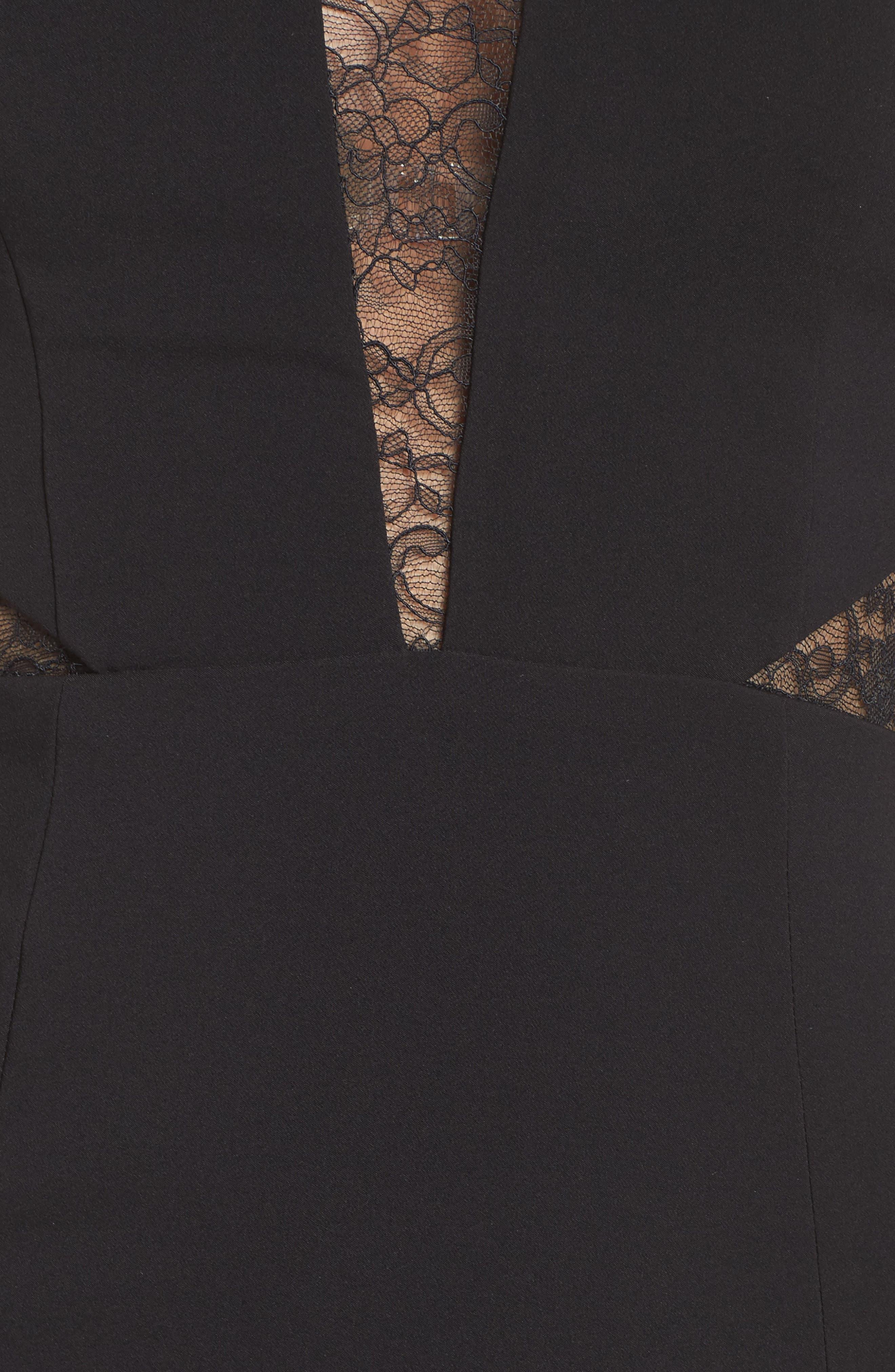 Alternate Image 5  - Maria Bianca Nero Darla Lace Inset Trumpet Gown