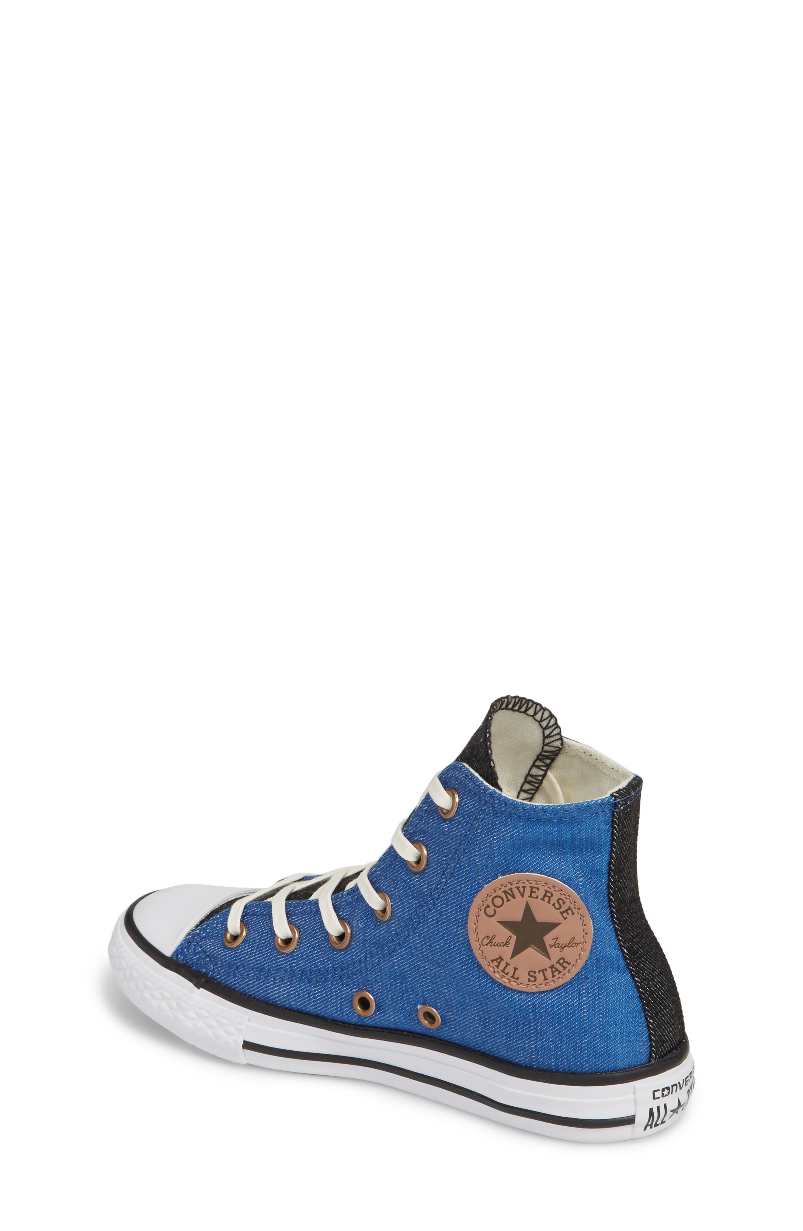 Chuck Taylor<sup>®</sup> All Star<sup>®</sup> Chambray High Top Sneaker,                             Alternate thumbnail 2, color,                             Nightfall Blue