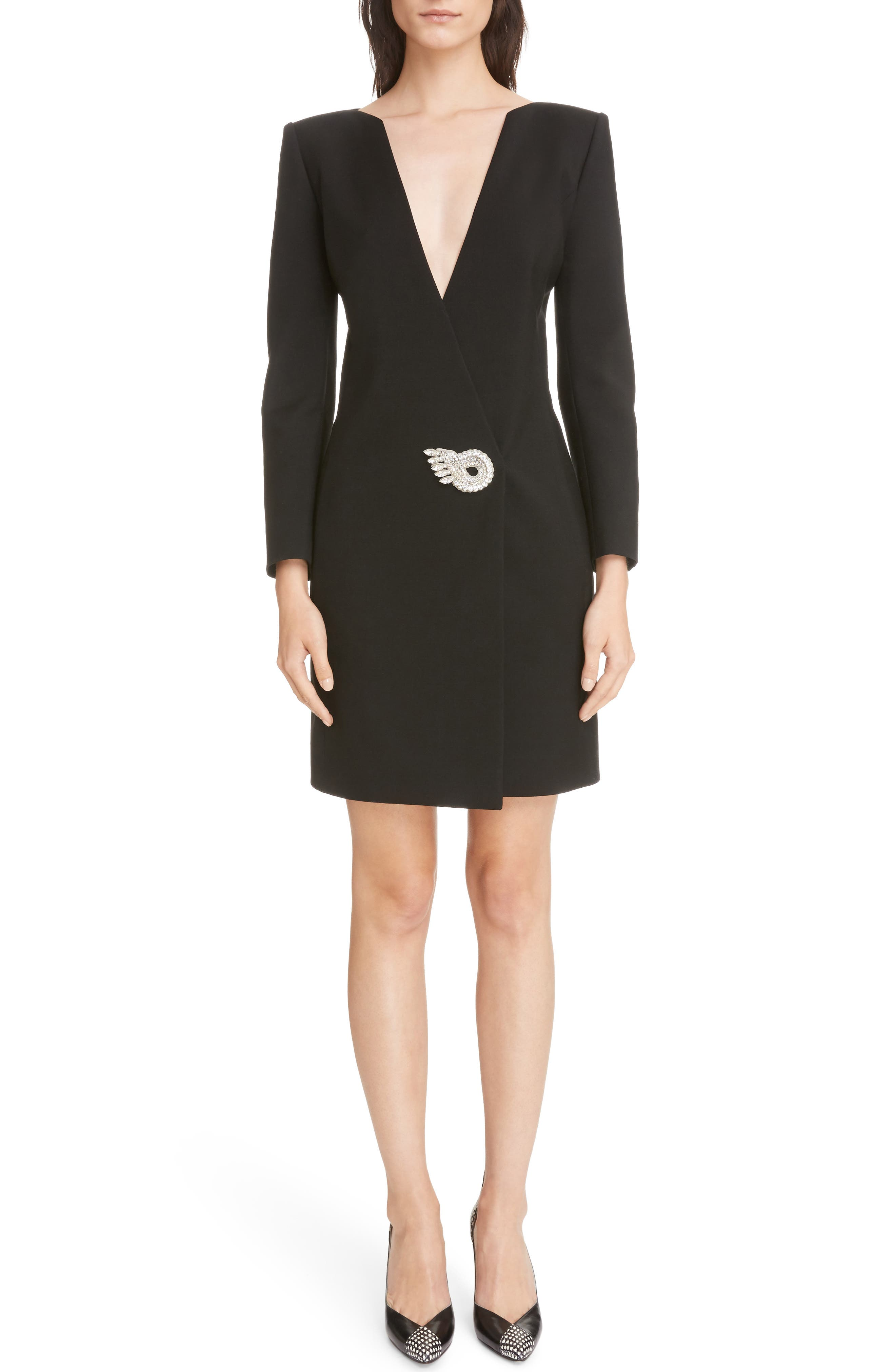 Wool & Mohair Brooch Detail Dress,                             Main thumbnail 1, color,                             Black