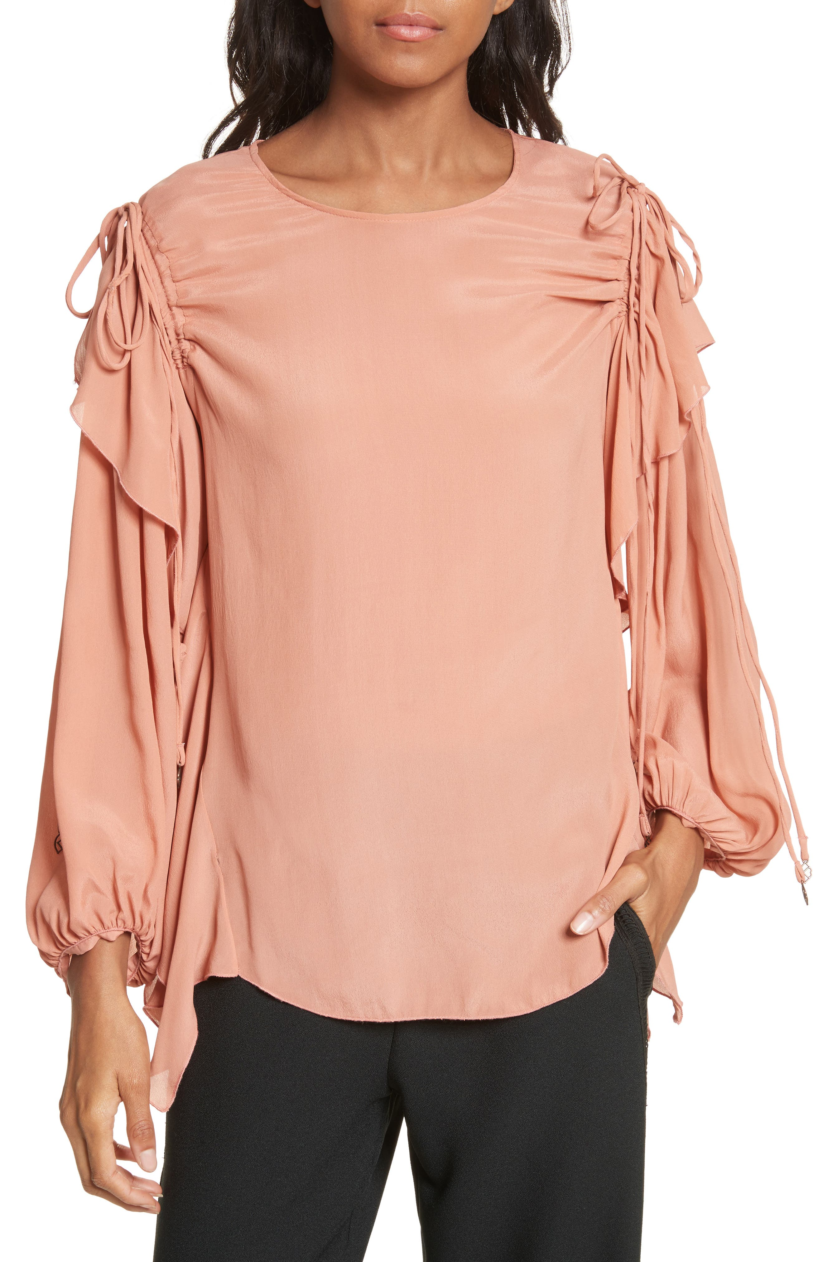 Ruffle Balloon Sleeve Top,                         Main,                         color, Past Rose