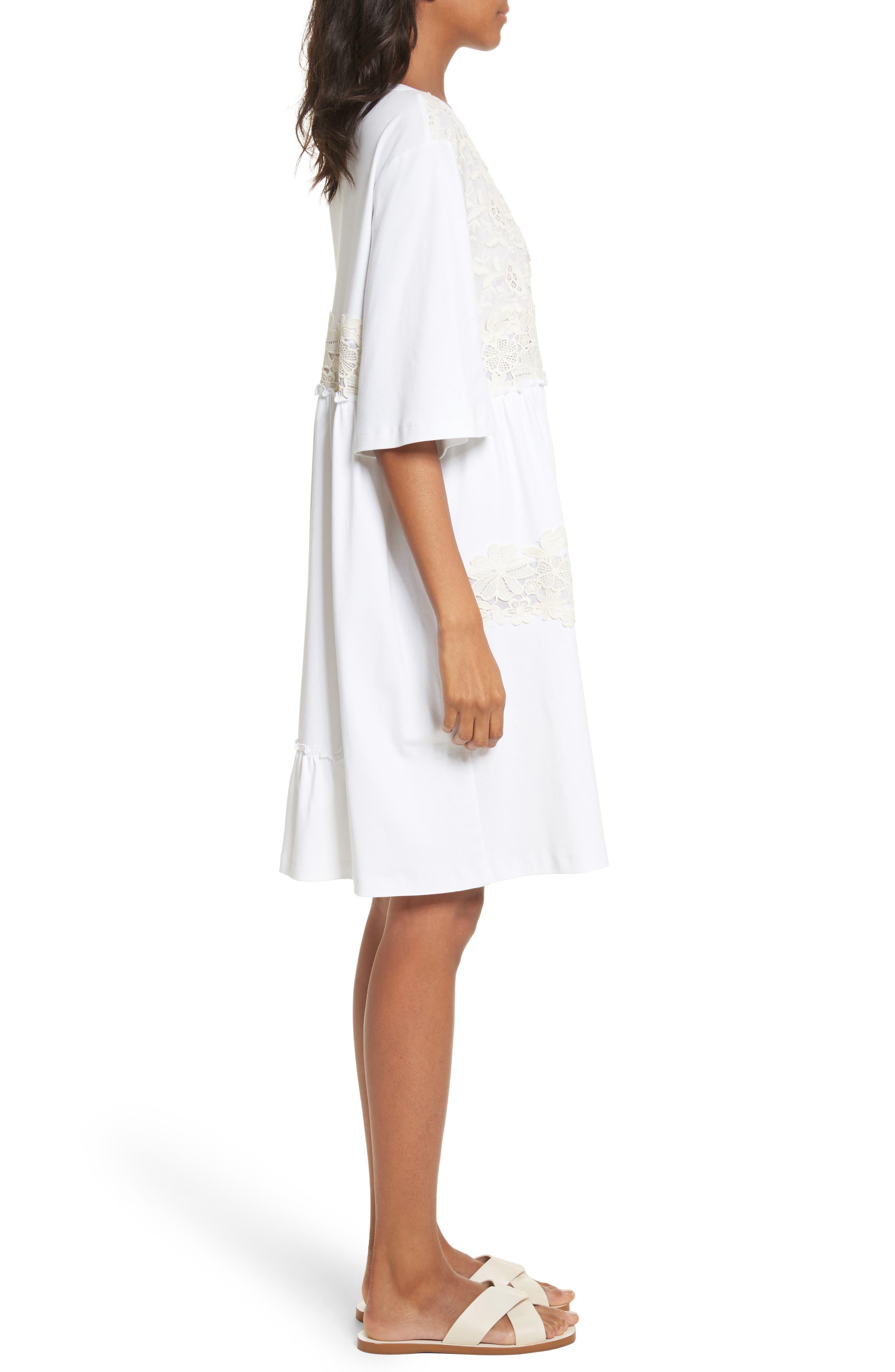 Crochet Panel Dress,                             Alternate thumbnail 3, color,                             White