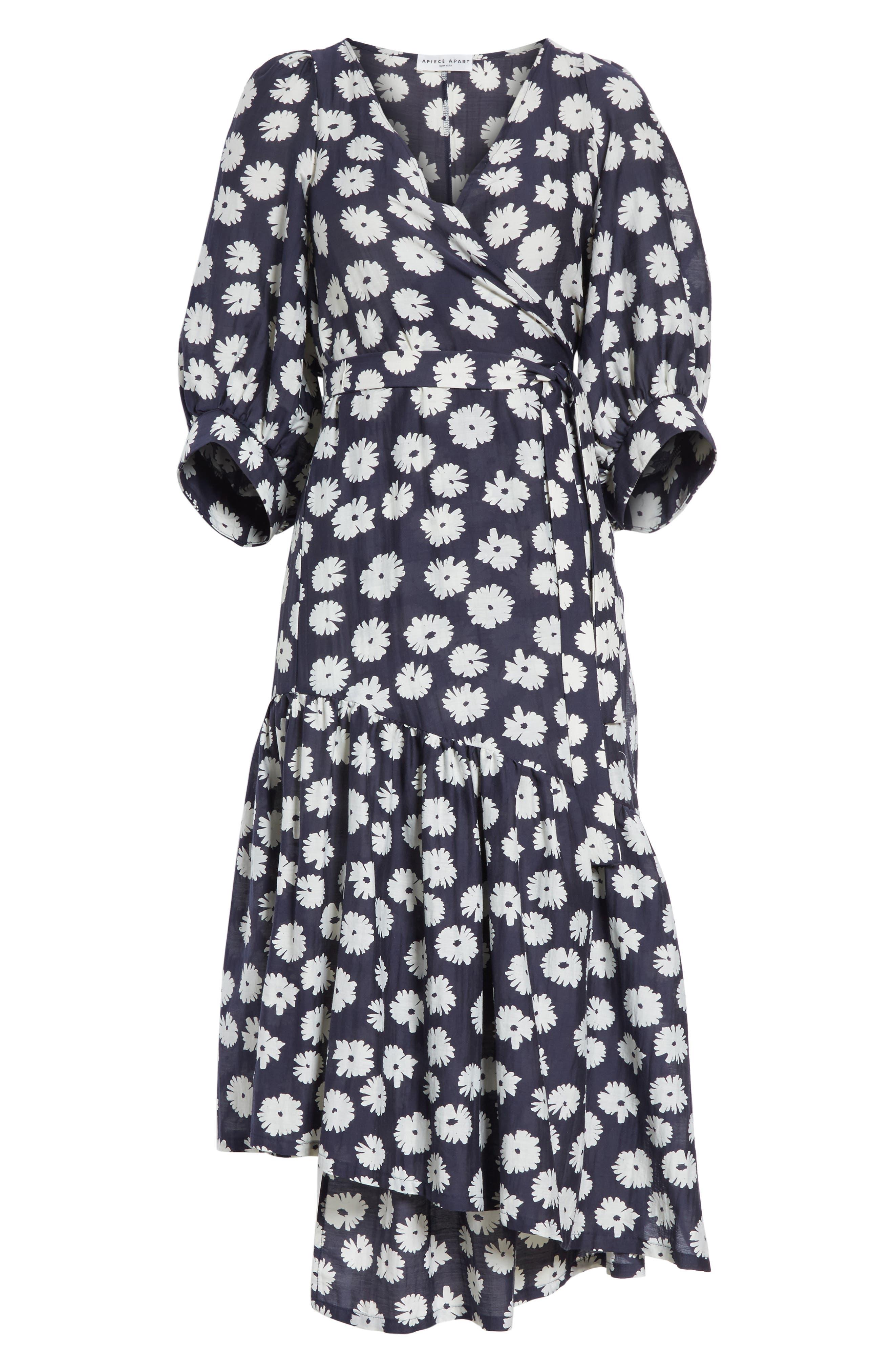 Bougainvillea Wrap Dress,                             Alternate thumbnail 6, color,                             Cypress Print