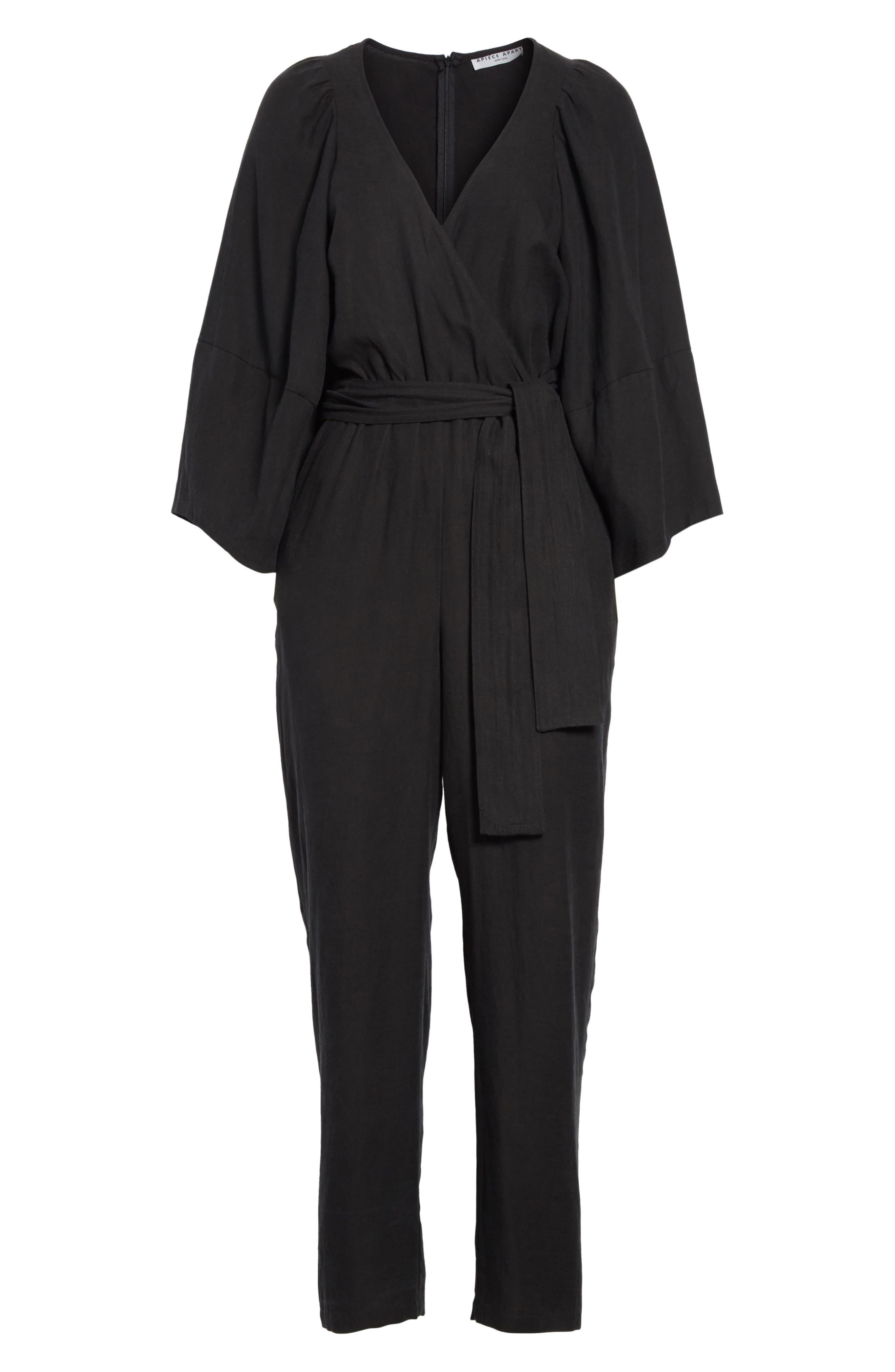 Meru Wrap Front Jumpsuit,                             Alternate thumbnail 6, color,                             Black