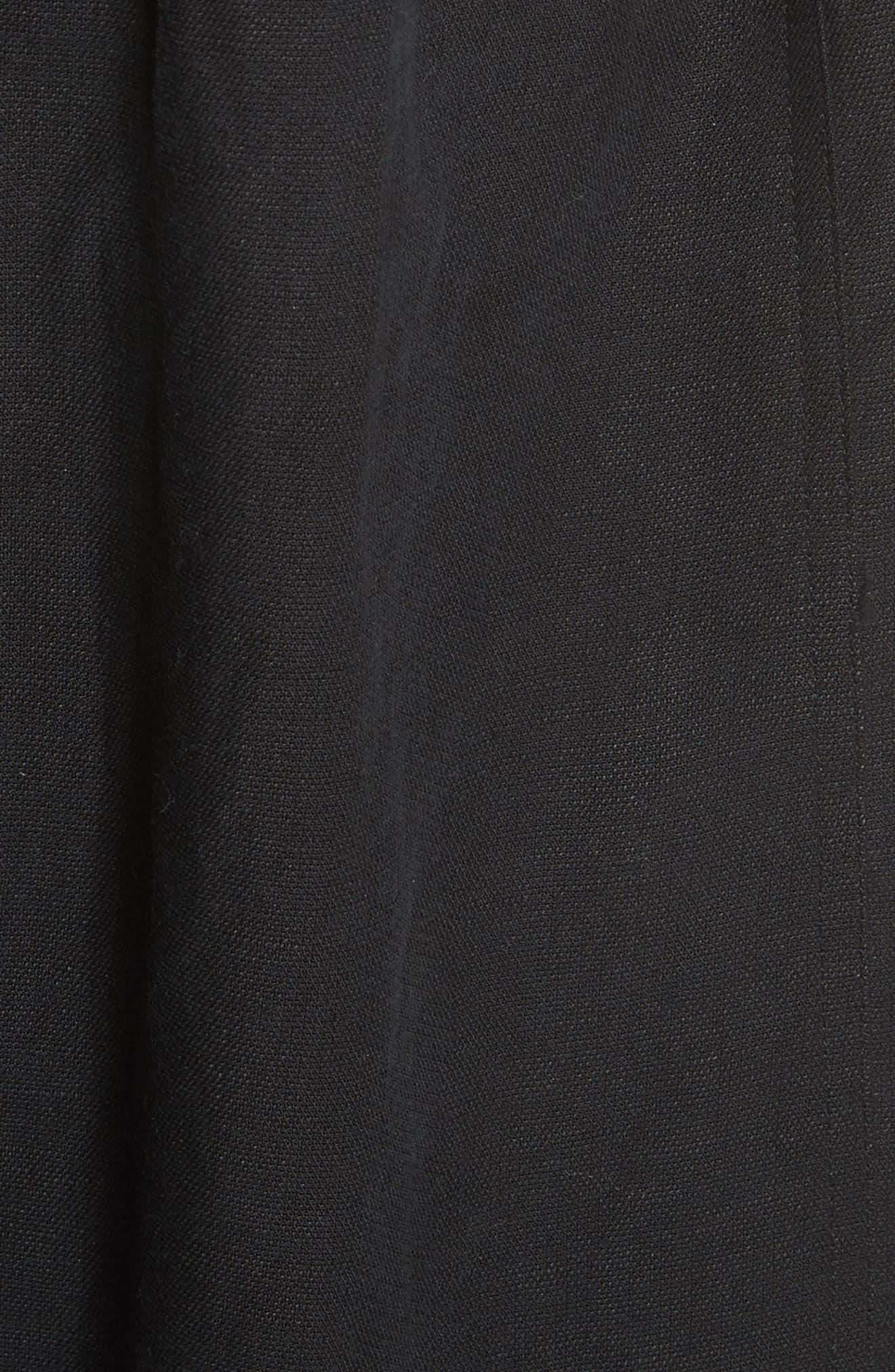 Lalla Off the Shoulder Linen Blend Dress,                             Alternate thumbnail 5, color,                             Black