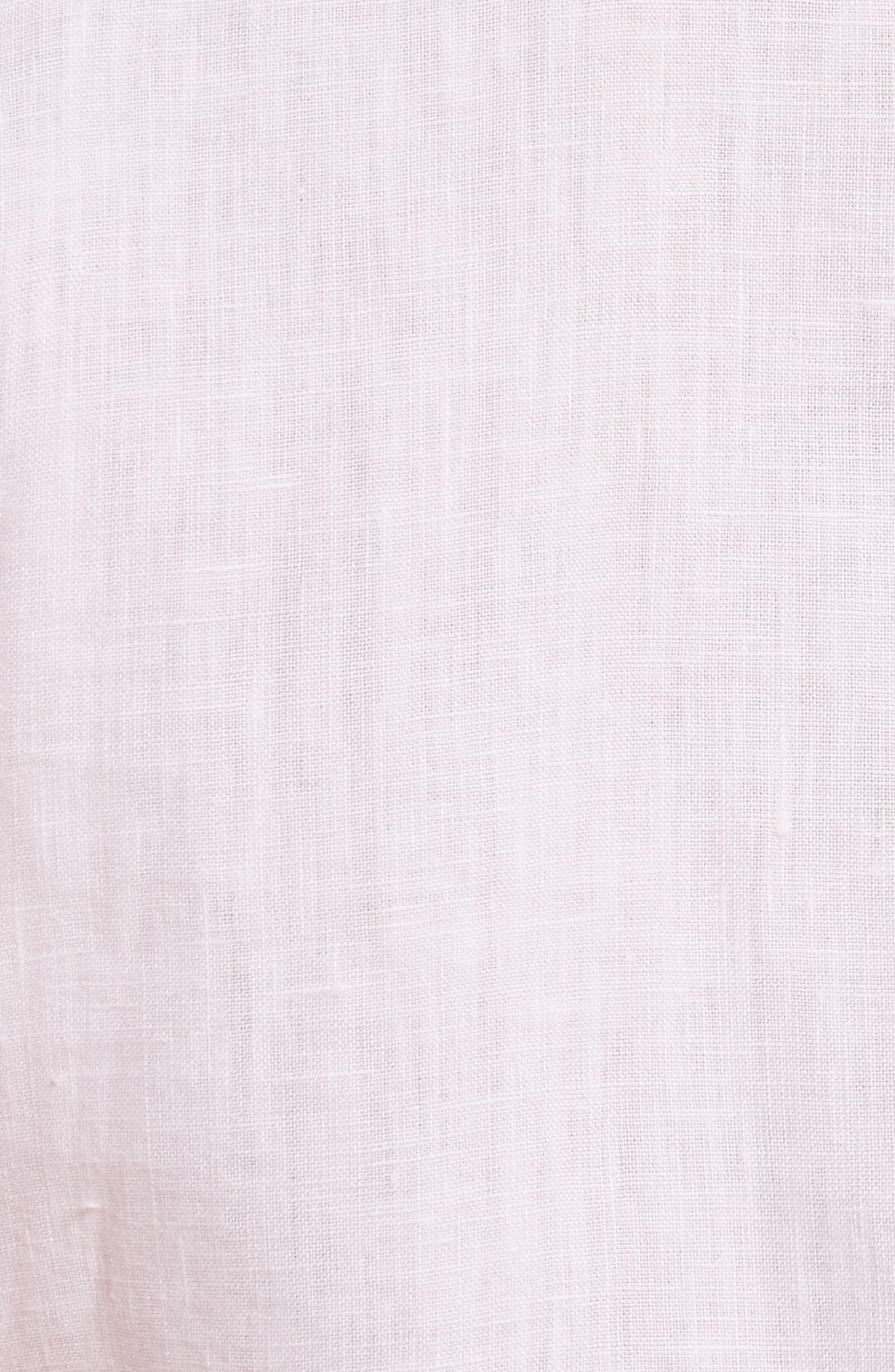 Lillian Bubble Sleeve Linen Shirt,                             Alternate thumbnail 5, color,                             Baby Pink