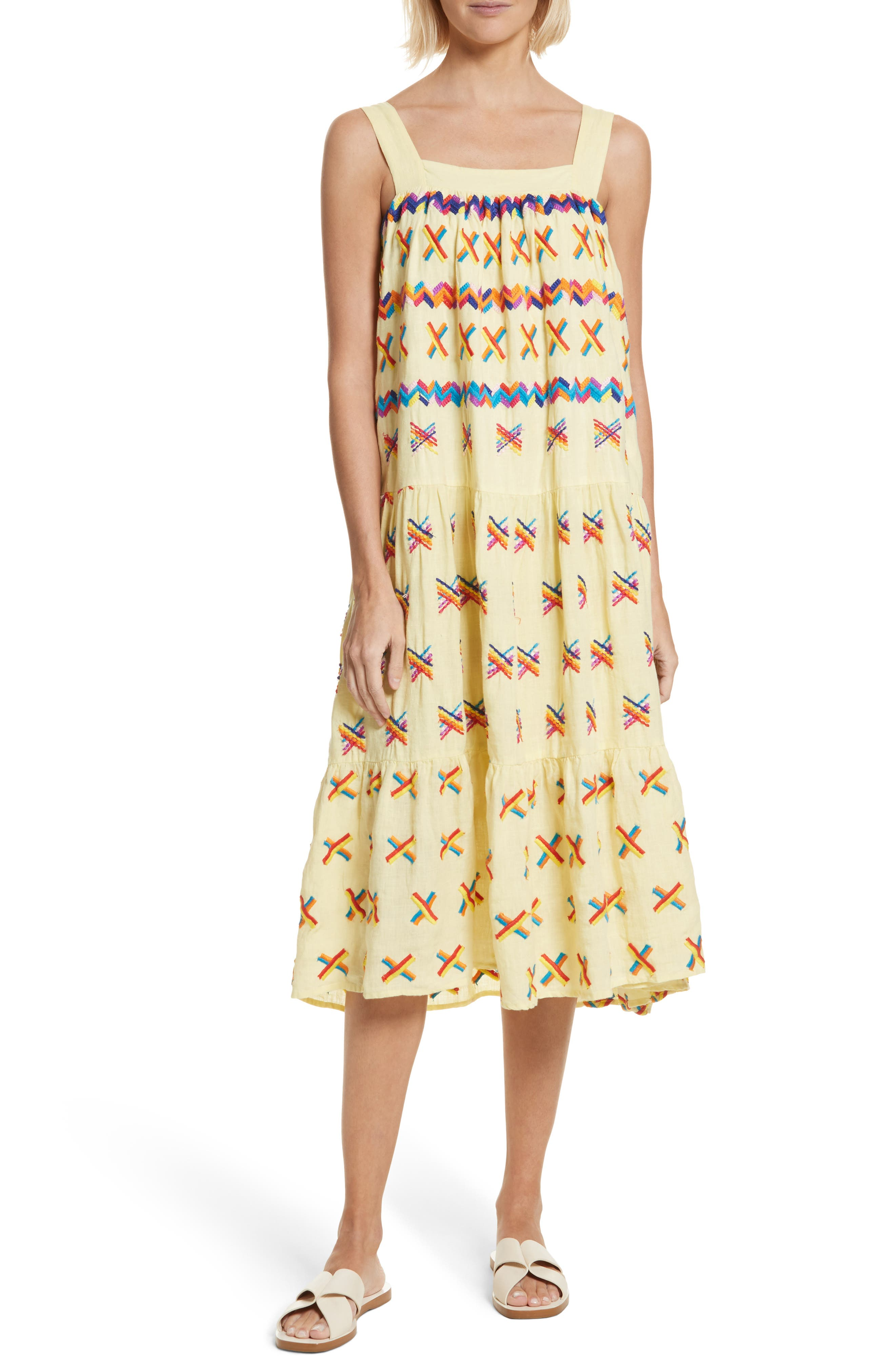 Remi Embroidered Midi Dress,                             Main thumbnail 1, color,                             Baby Yellow