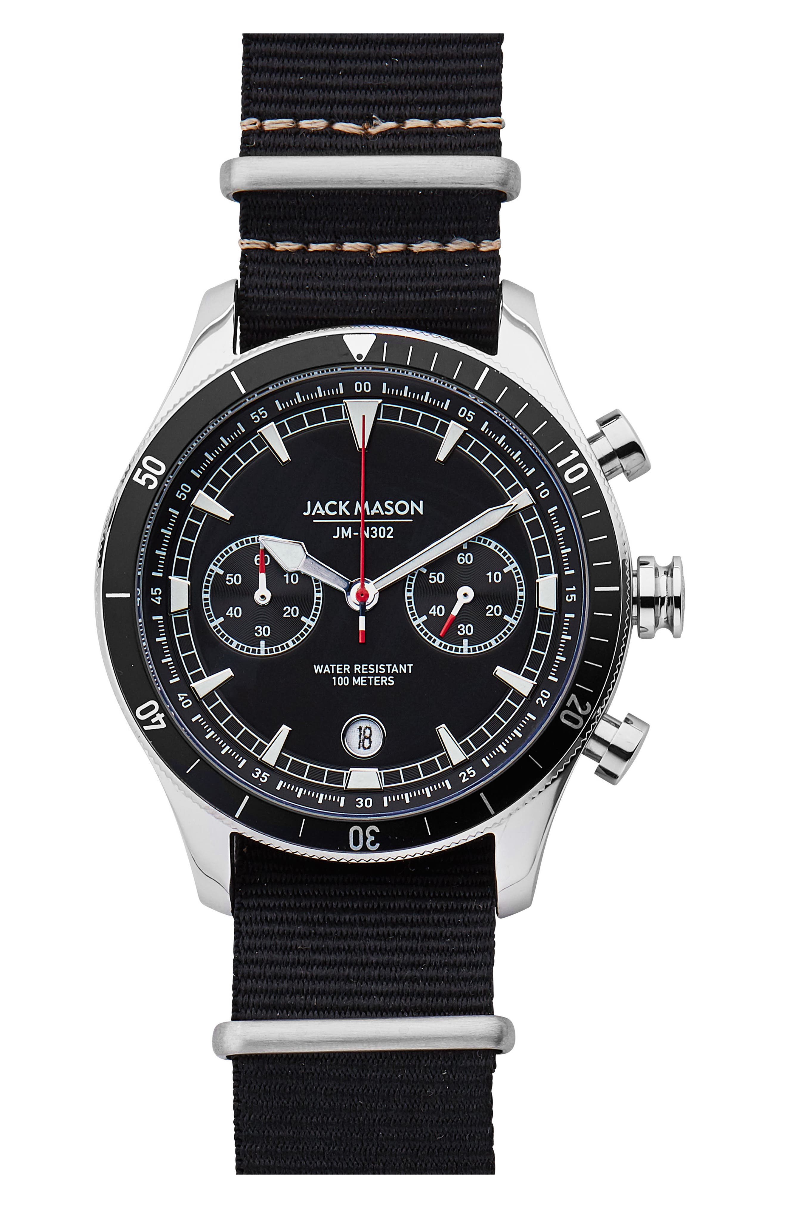 Nautical Chronograph NATO Strap Watch, 45mm,                         Main,                         color, Black/ Black