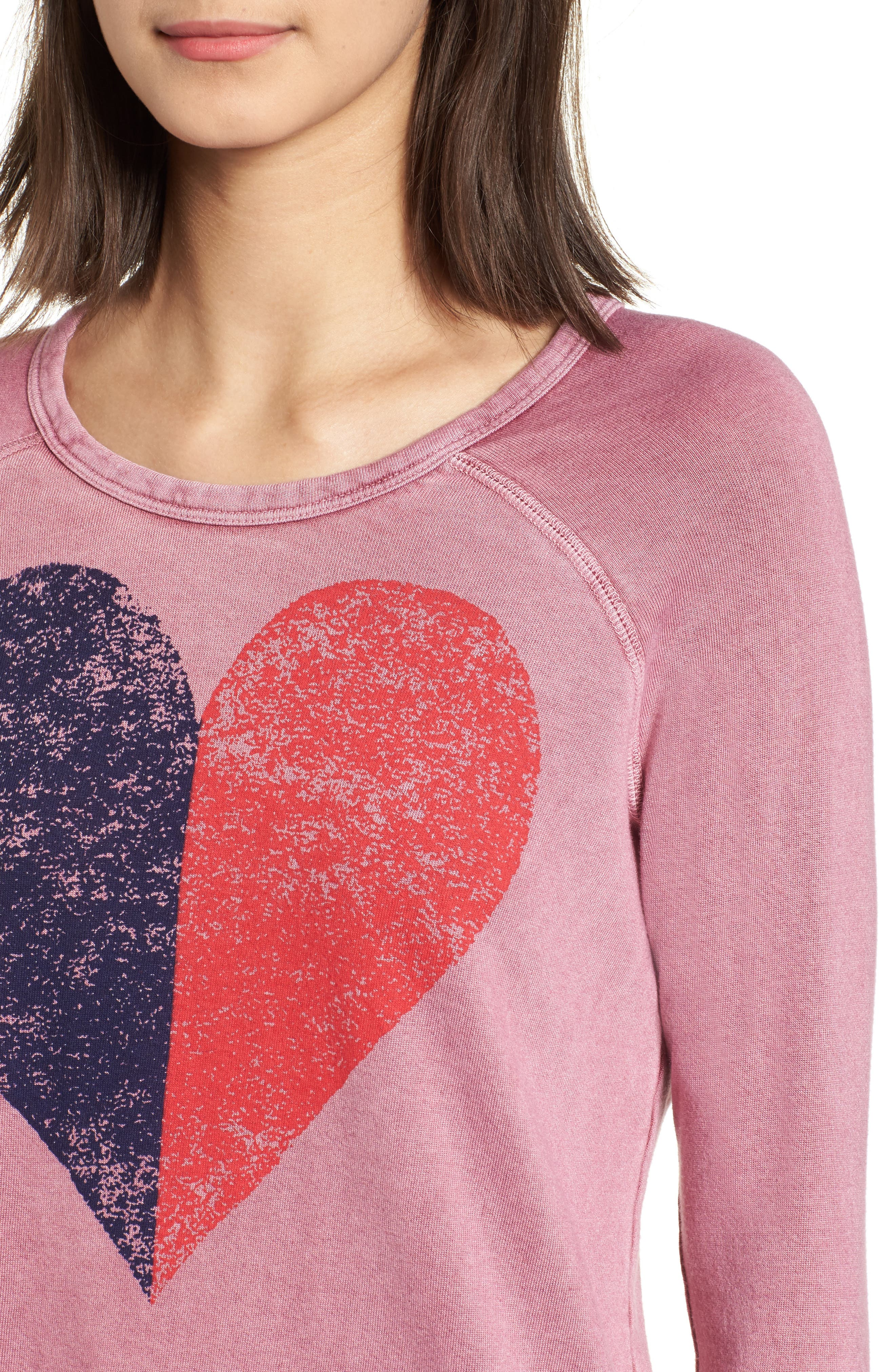 Alternate Image 4  - Sundry Split Heart Terry Sweatshirt