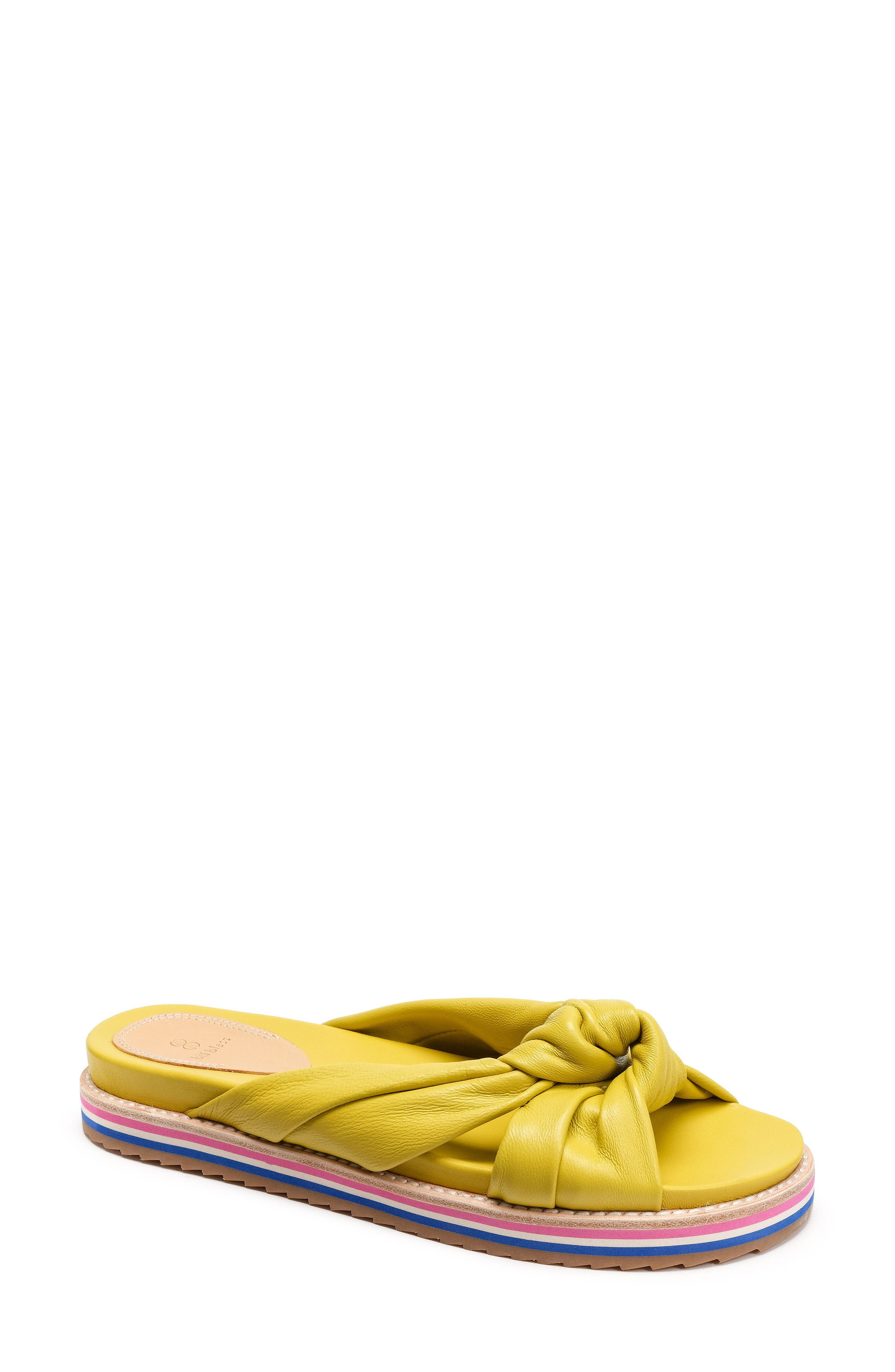 Padget Knotted Slide Sandal,                             Main thumbnail 1, color,                             Yellow