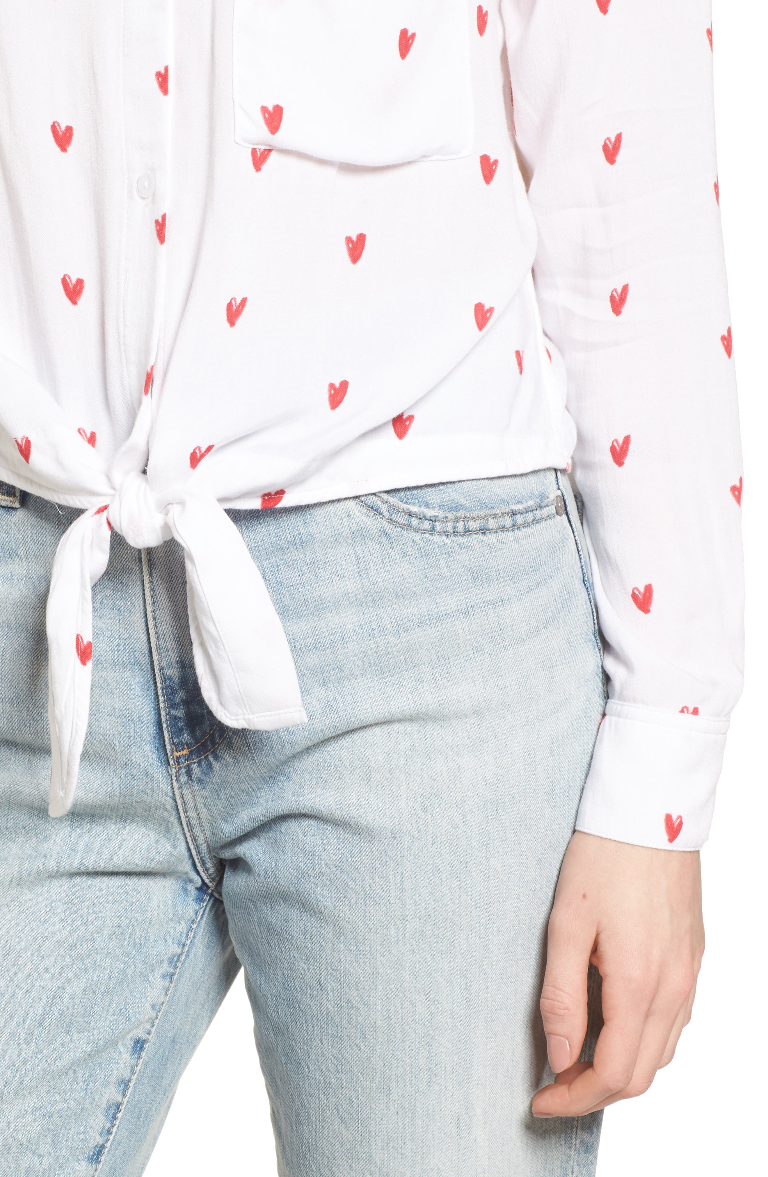 Val Tie Front Shirt,                             Alternate thumbnail 4, color,                             Lipstick Hearts