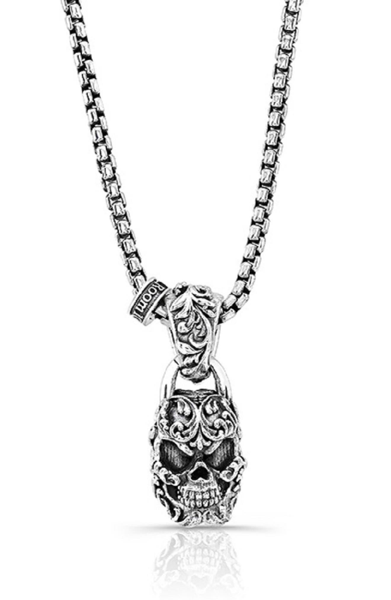 Filigree Skull Pendant Necklace,                             Main thumbnail 1, color,                             Silver