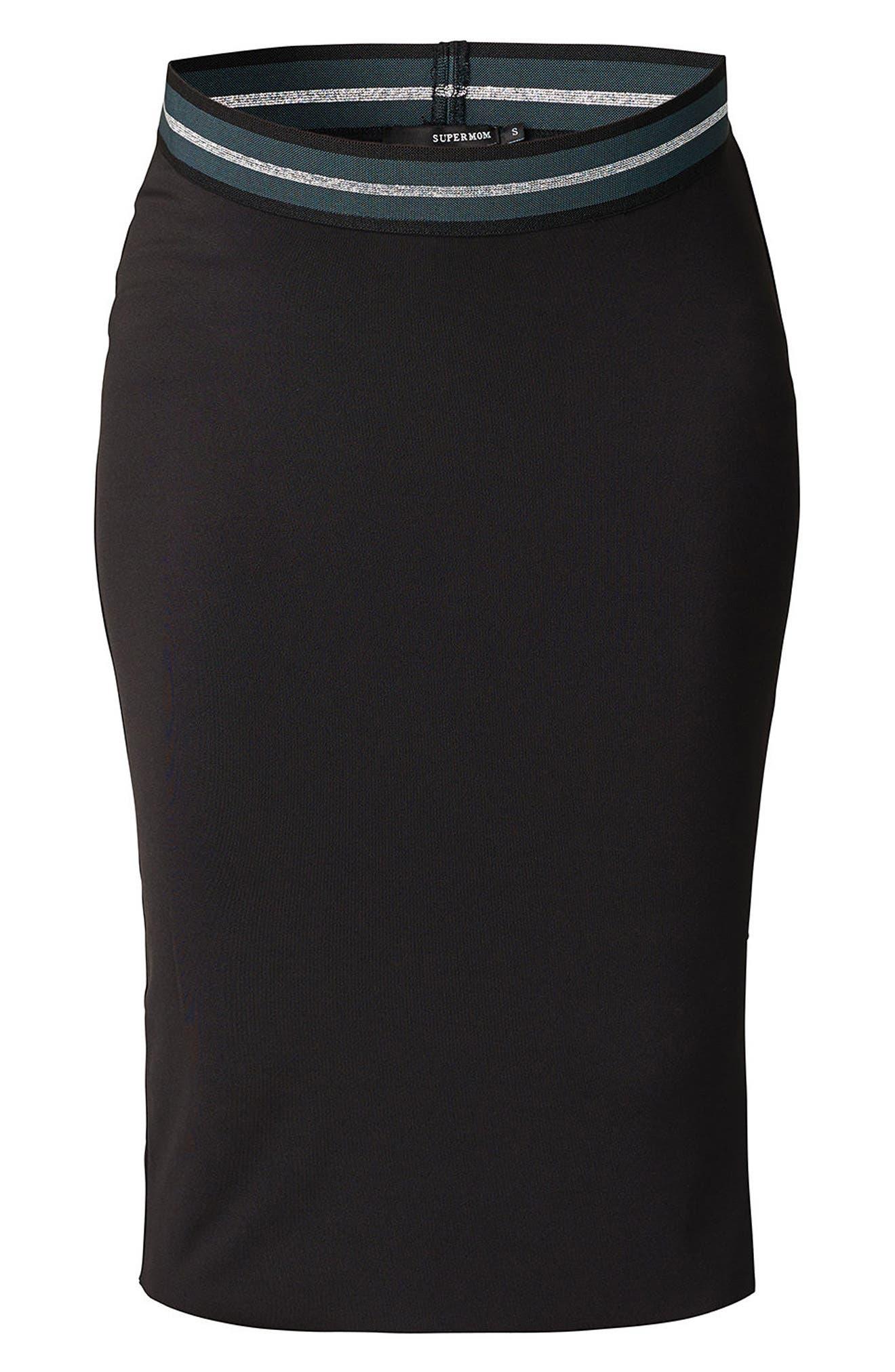 High Waist Scuba Maternity Skirt,                             Alternate thumbnail 3, color,                             Black