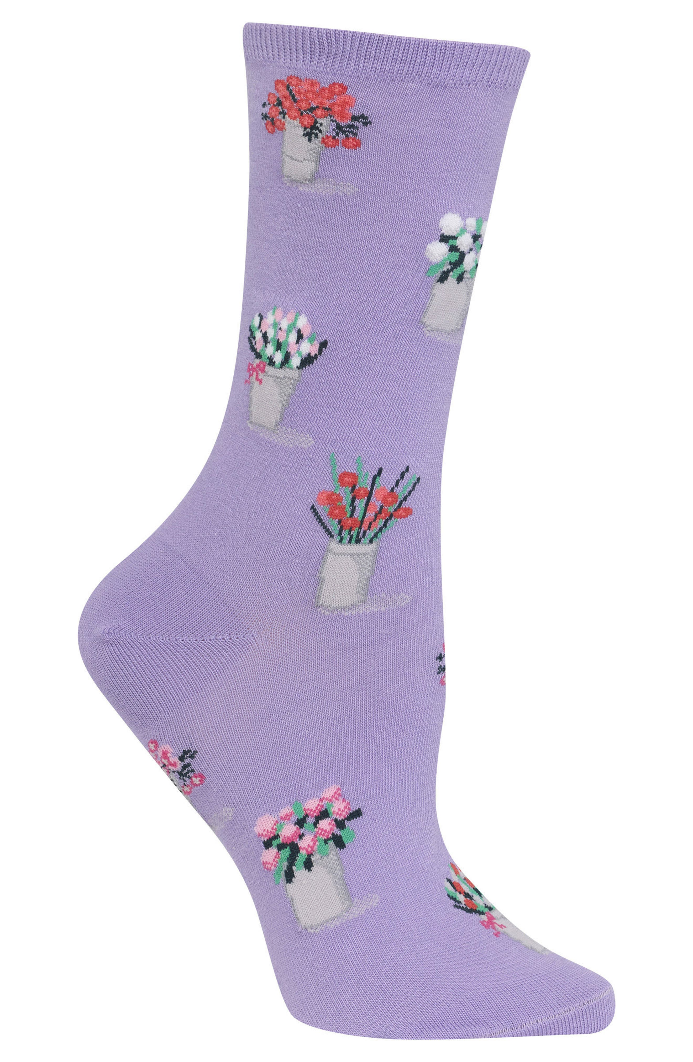 Bouquet Crew Socks,                             Alternate thumbnail 3, color,                             Lavender