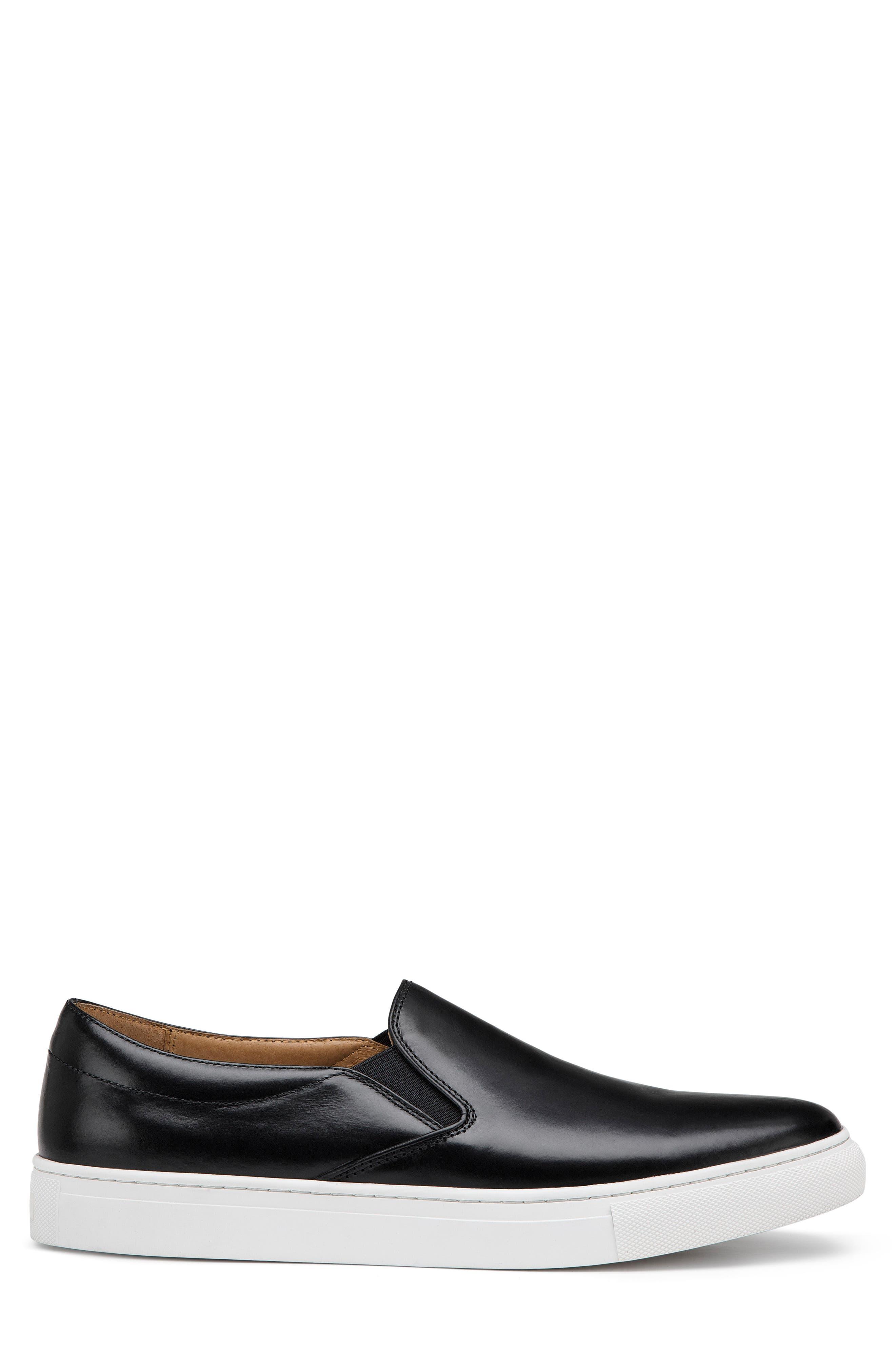Alex Slip-On Sneaker,                             Alternate thumbnail 3, color,                             Black Leather