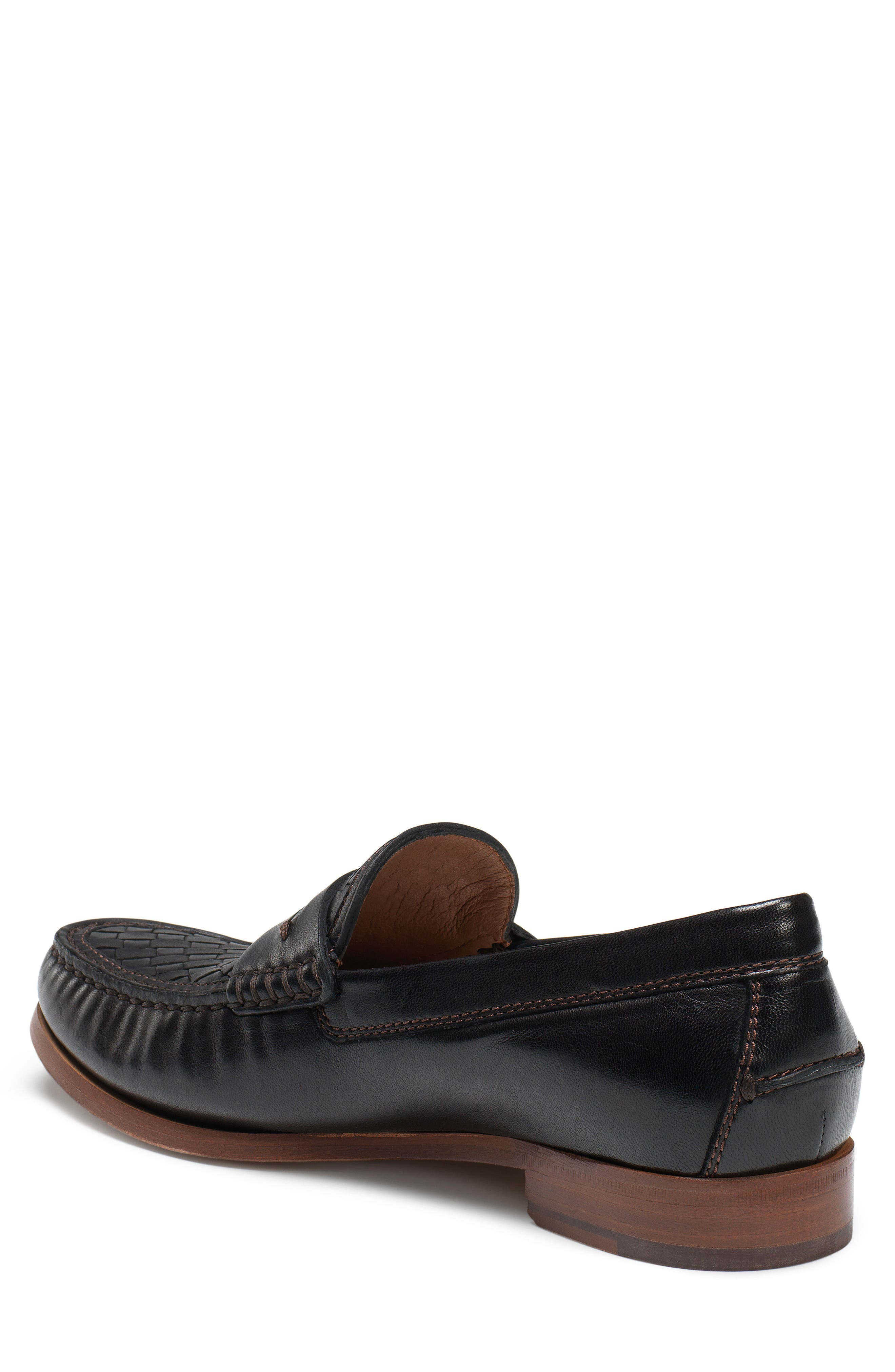 Slade Water Resistant Woven Penny Loafer,                             Alternate thumbnail 2, color,                             Black Leather