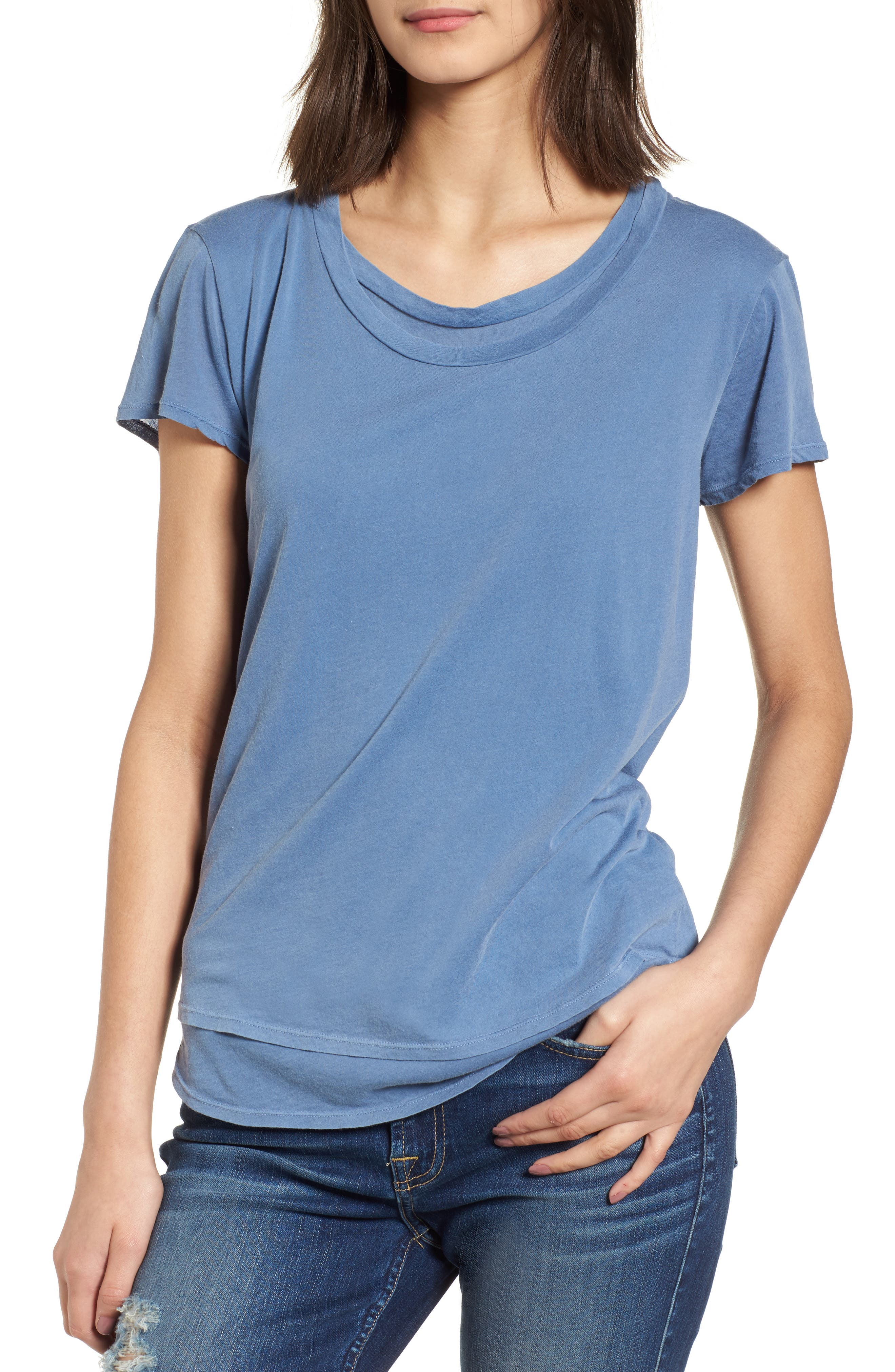 Layered Tee,                         Main,                         color, Vintage Blue