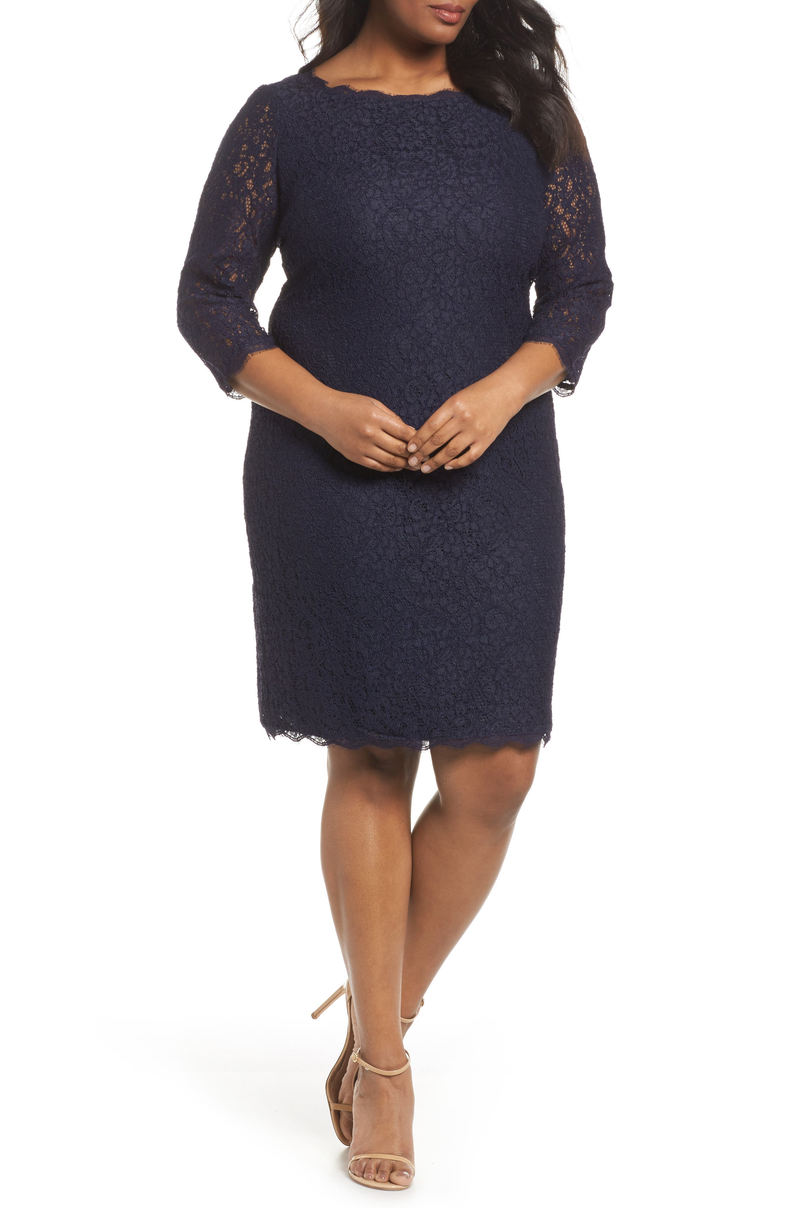 Lace Overlay Sheath Dress,                             Main thumbnail 1, color,                             Navy