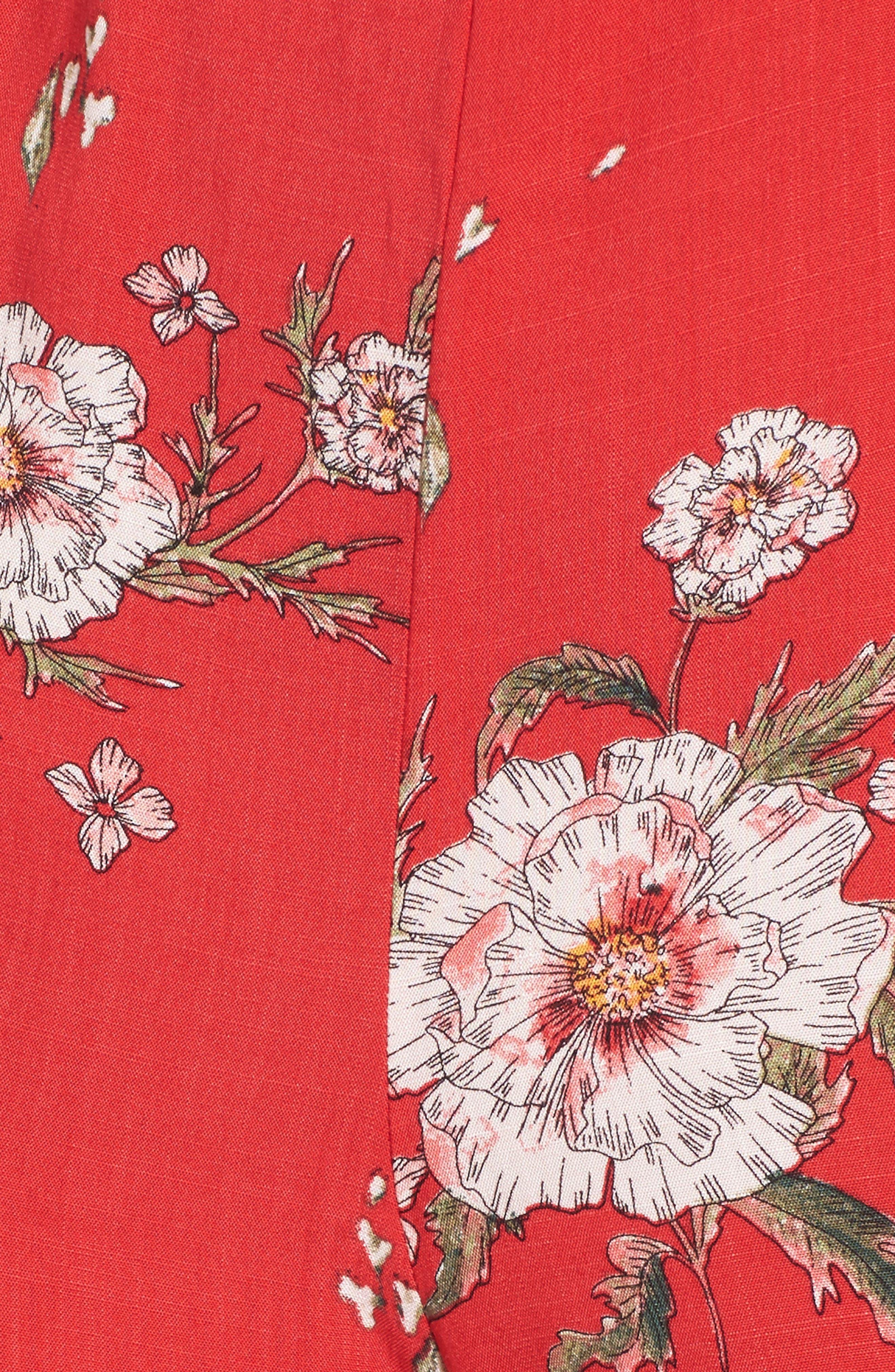 Twist Front Cutout Jumpsuit,                             Alternate thumbnail 5, color,                             Red Floral