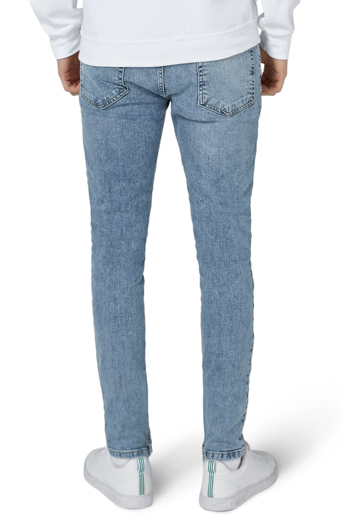 Ripped Acid Wash Skinny Jeans,                             Alternate thumbnail 2, color,                             Blue