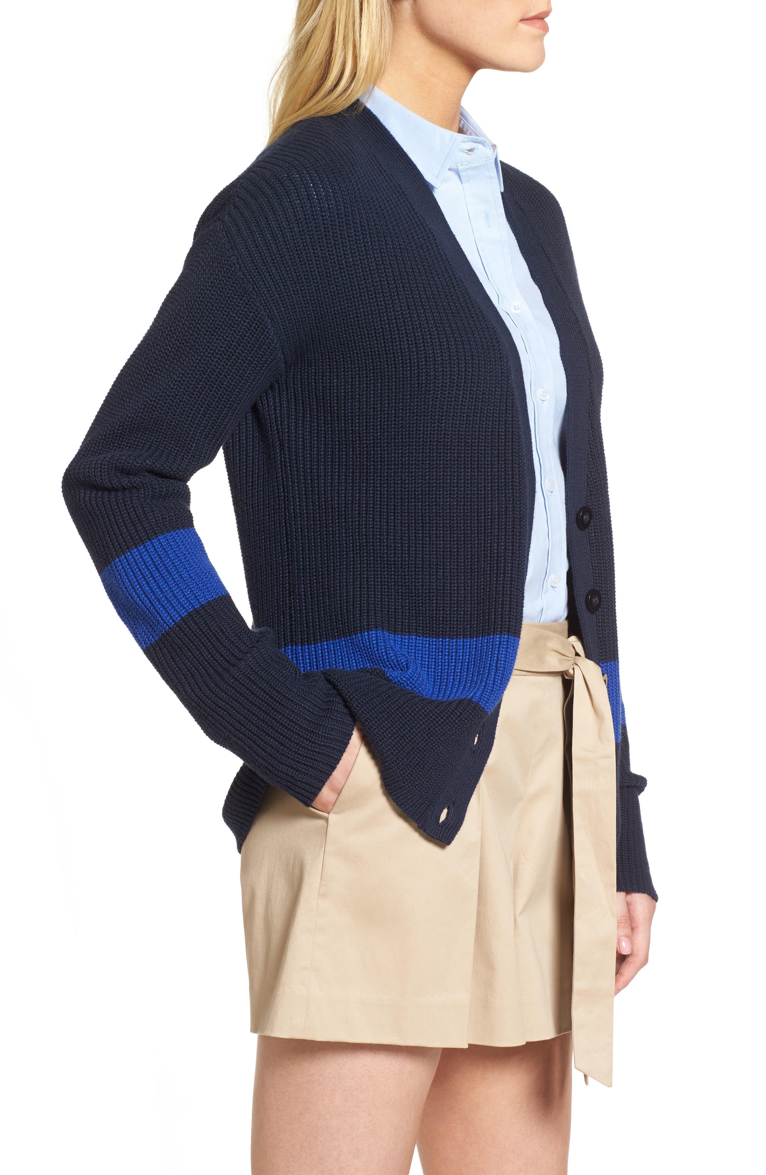Shaker Knit Cardigan,                             Alternate thumbnail 3, color,                             Navy- Blue Colorblock