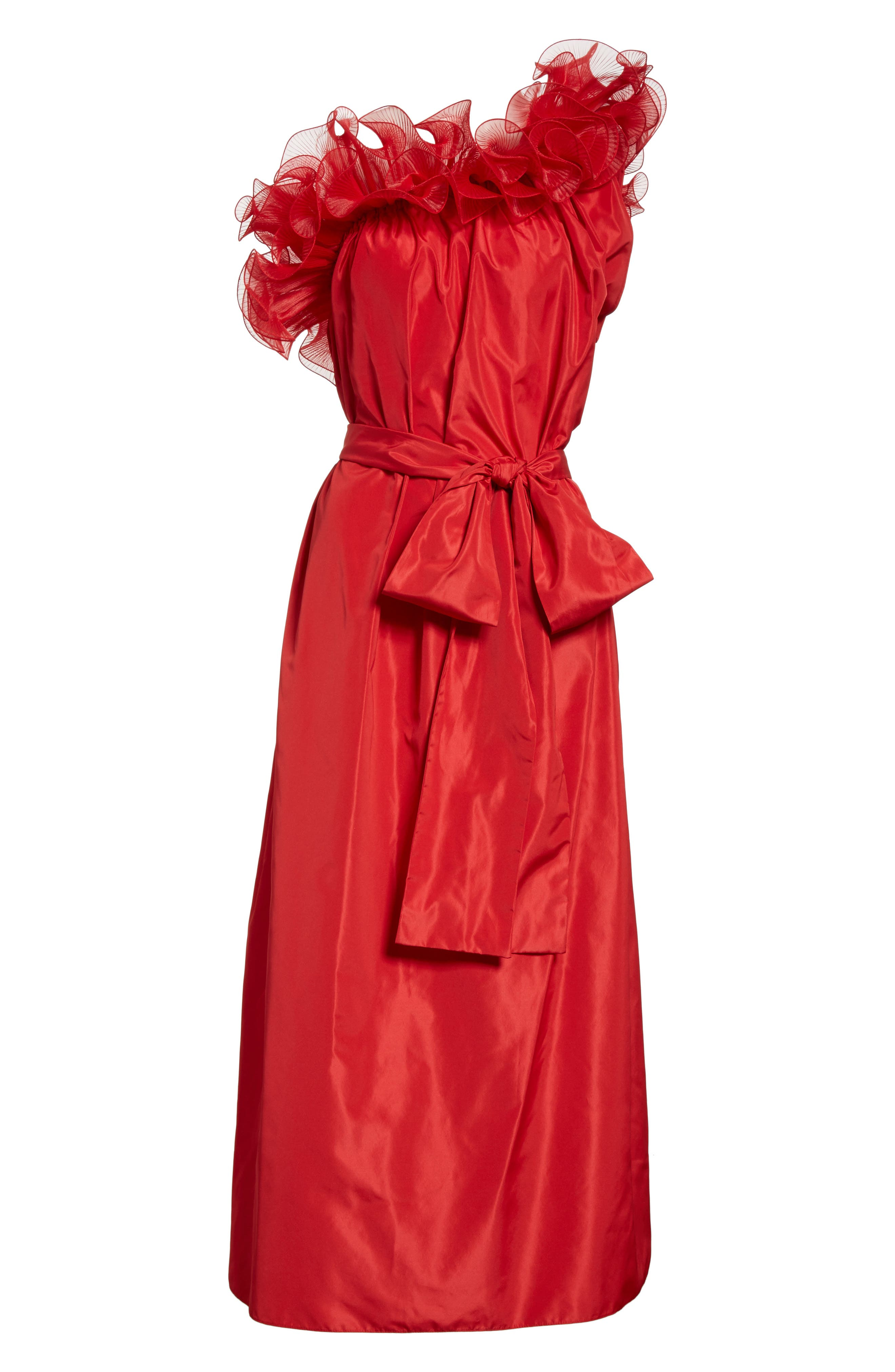 One-Shoulder Ruffle Taffeta Dress,                             Alternate thumbnail 7, color,                             Red