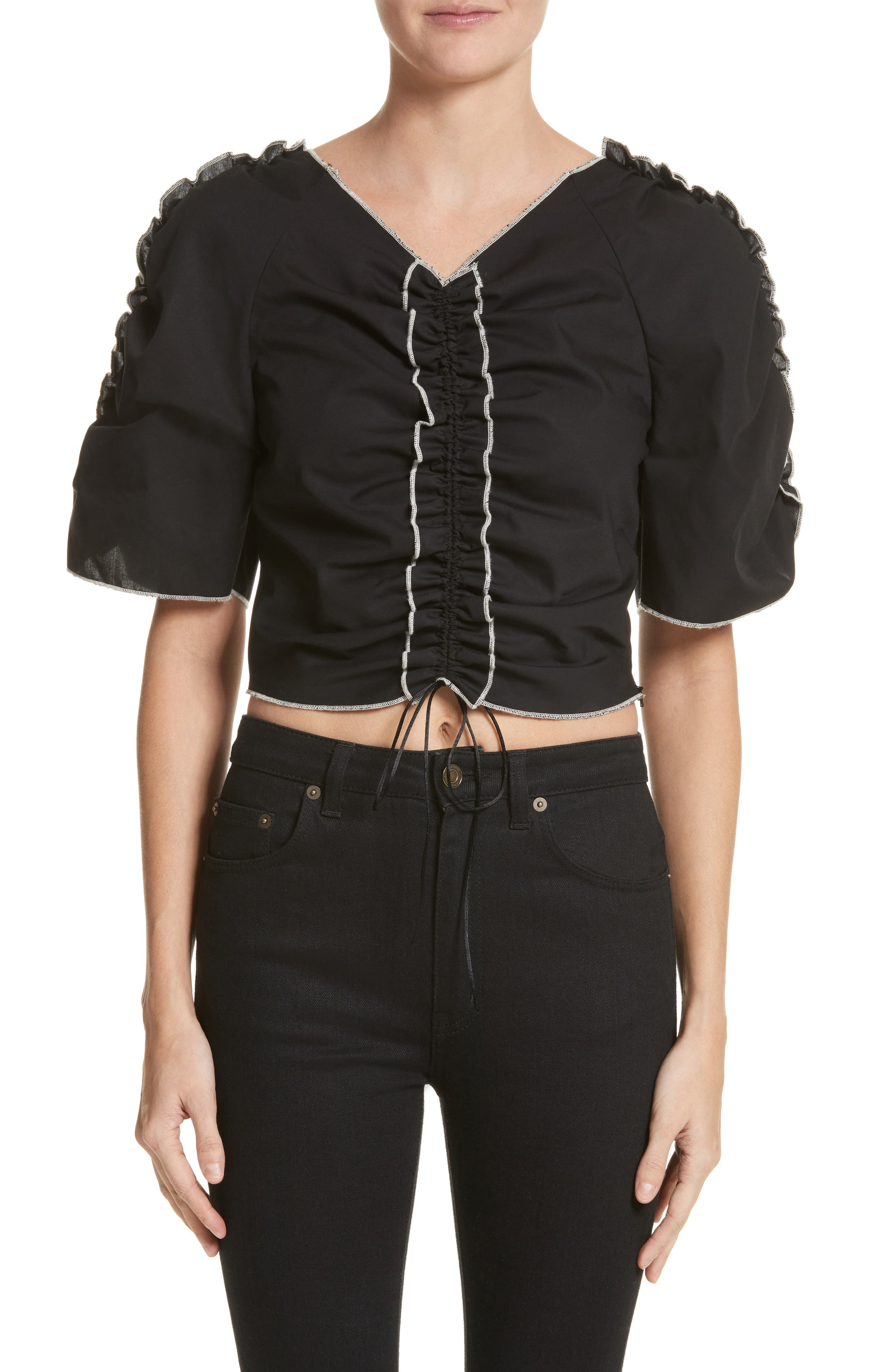Molly Goddard Nico Gathered Drawstring Top