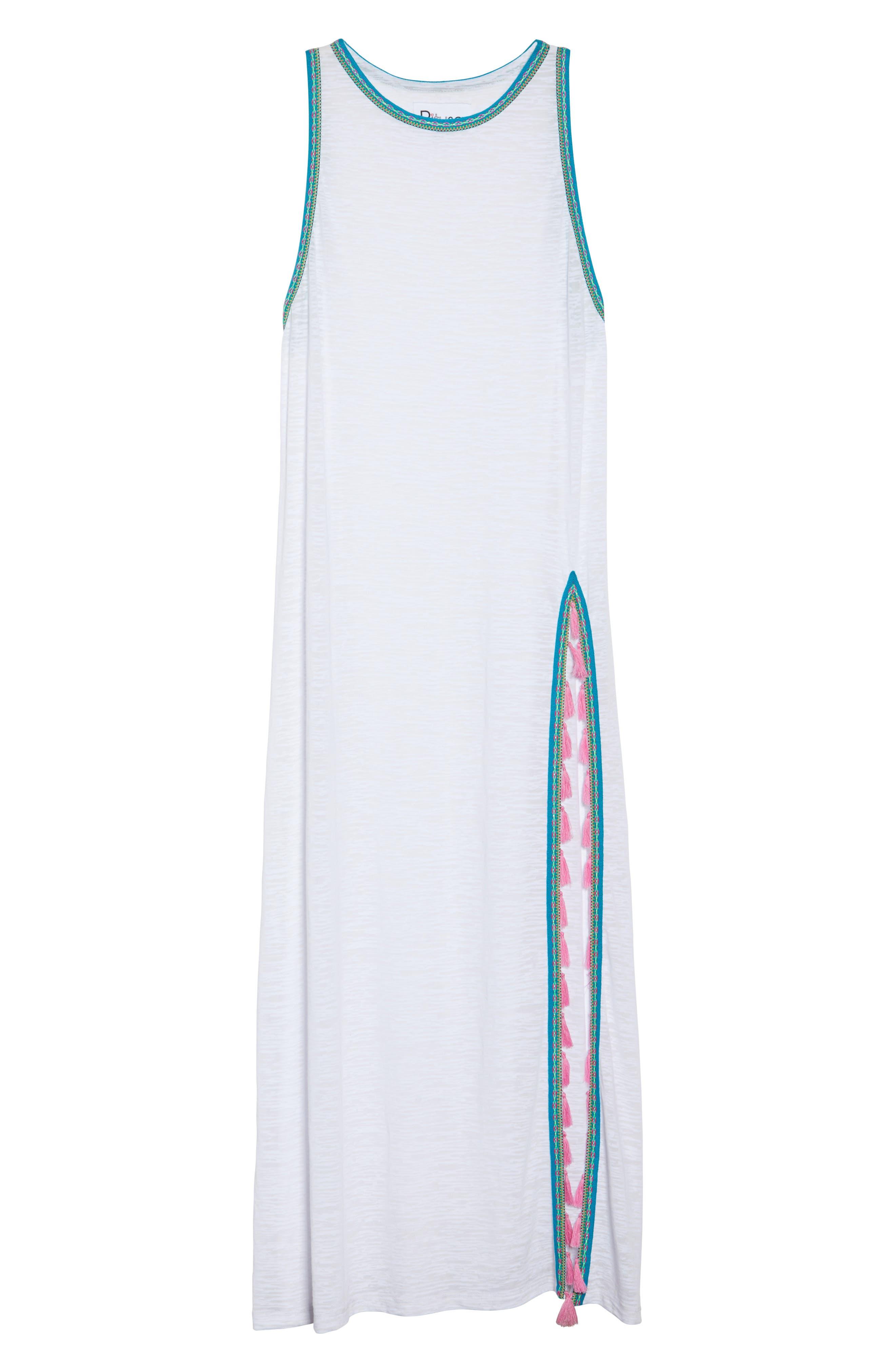 Tassel Slit Cover-Up Maxi Dress,                             Alternate thumbnail 5, color,                             White