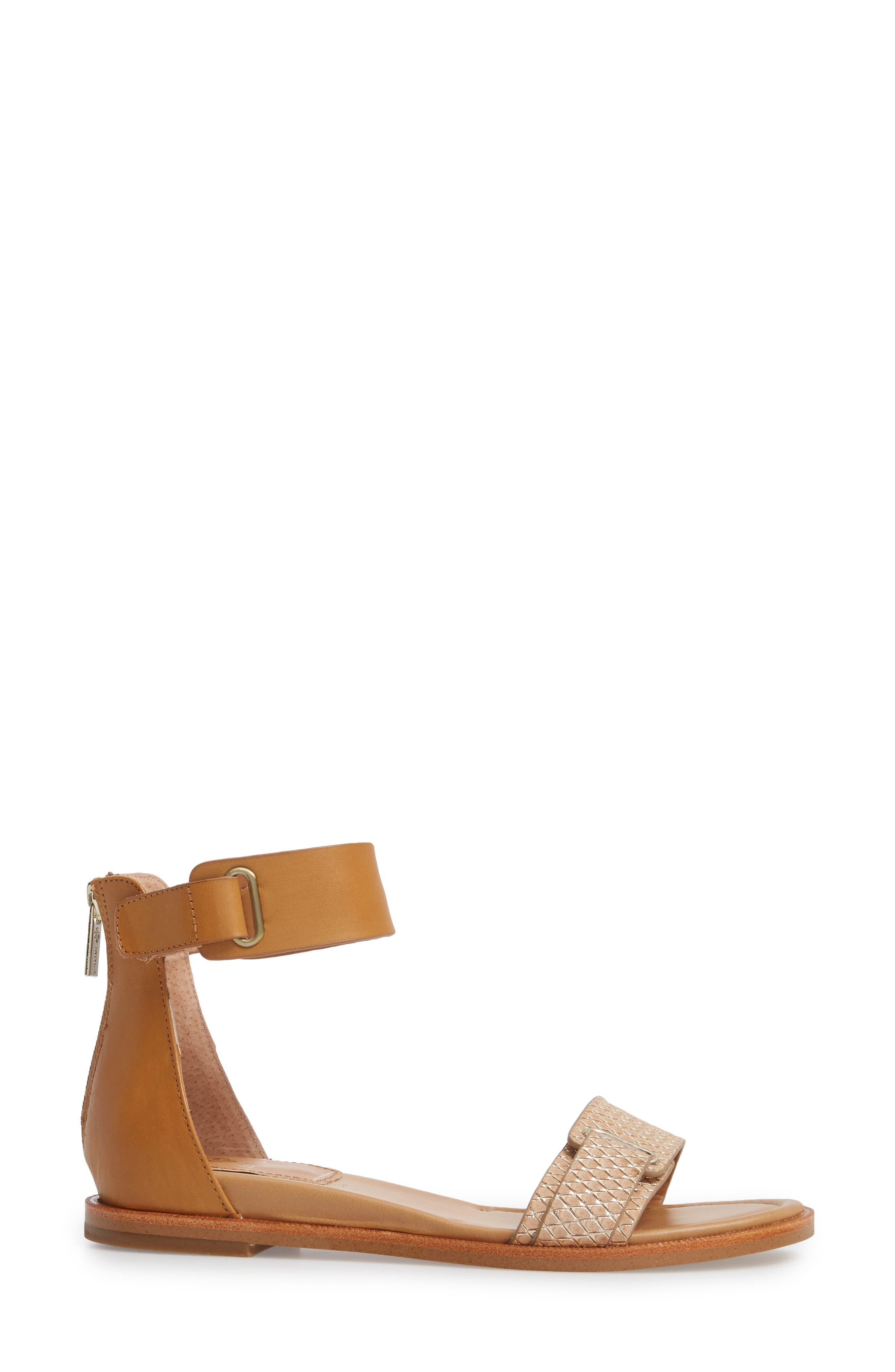 Savina Ankle Strap Sandal,                             Alternate thumbnail 3, color,                             Gold/ Desert Sand Leather