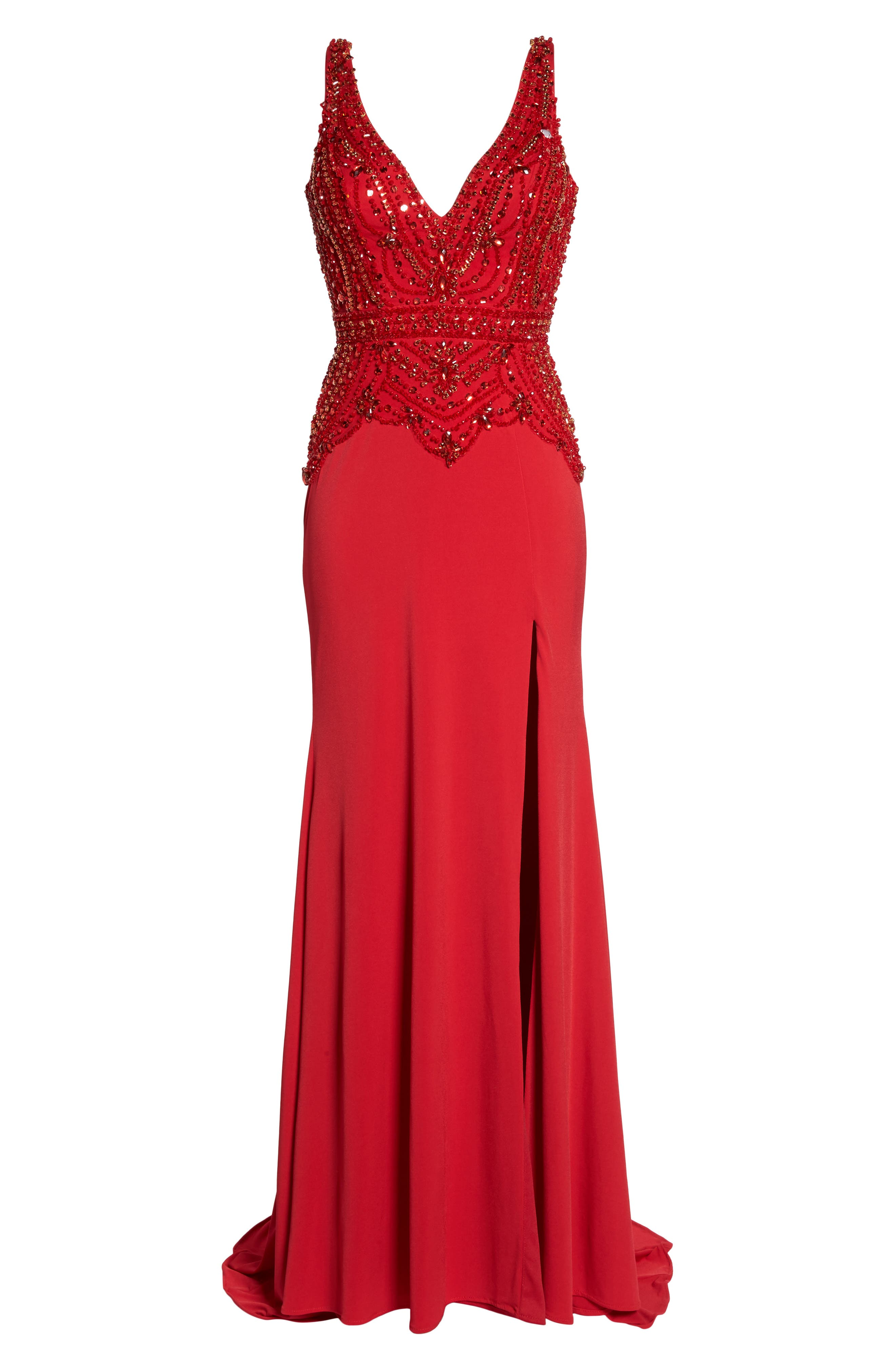 Beaded Bodice Sheath Gown,                             Alternate thumbnail 6, color,                             Red