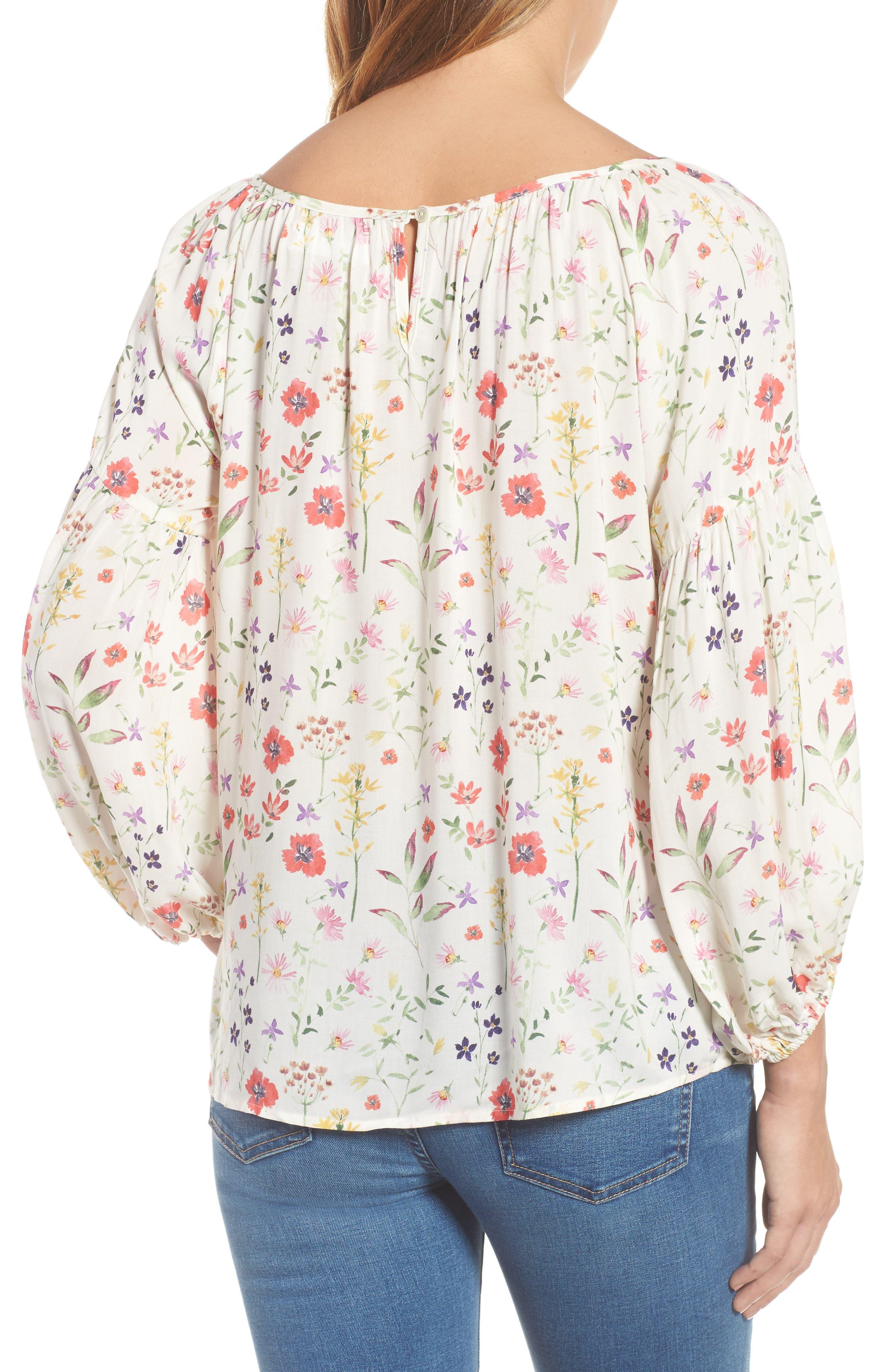Spring Floral Peasant Top,                             Alternate thumbnail 3, color,                             White Multi