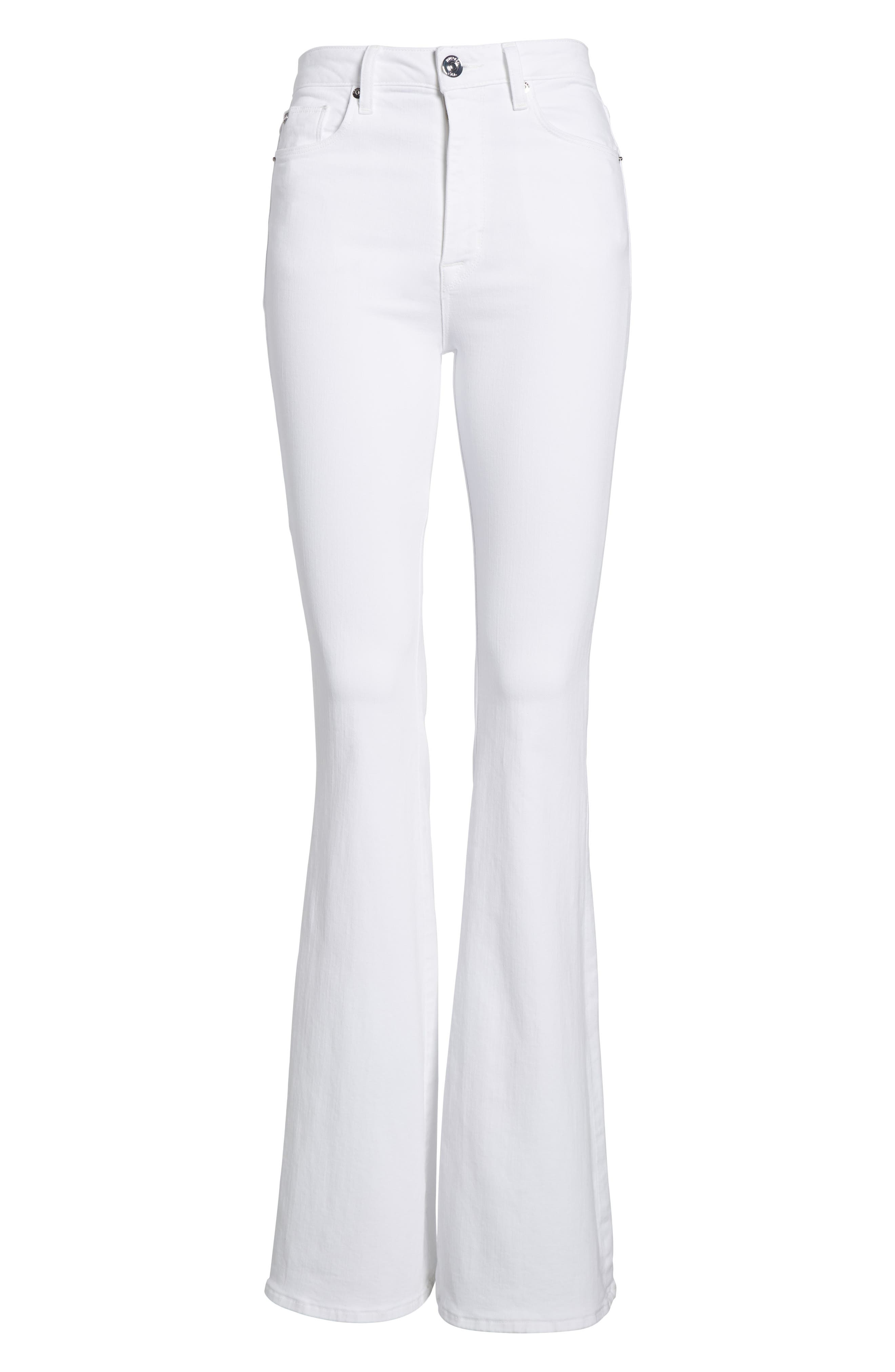Holly High Waist Flare Jeans,                             Alternate thumbnail 7, color,                             Optical White