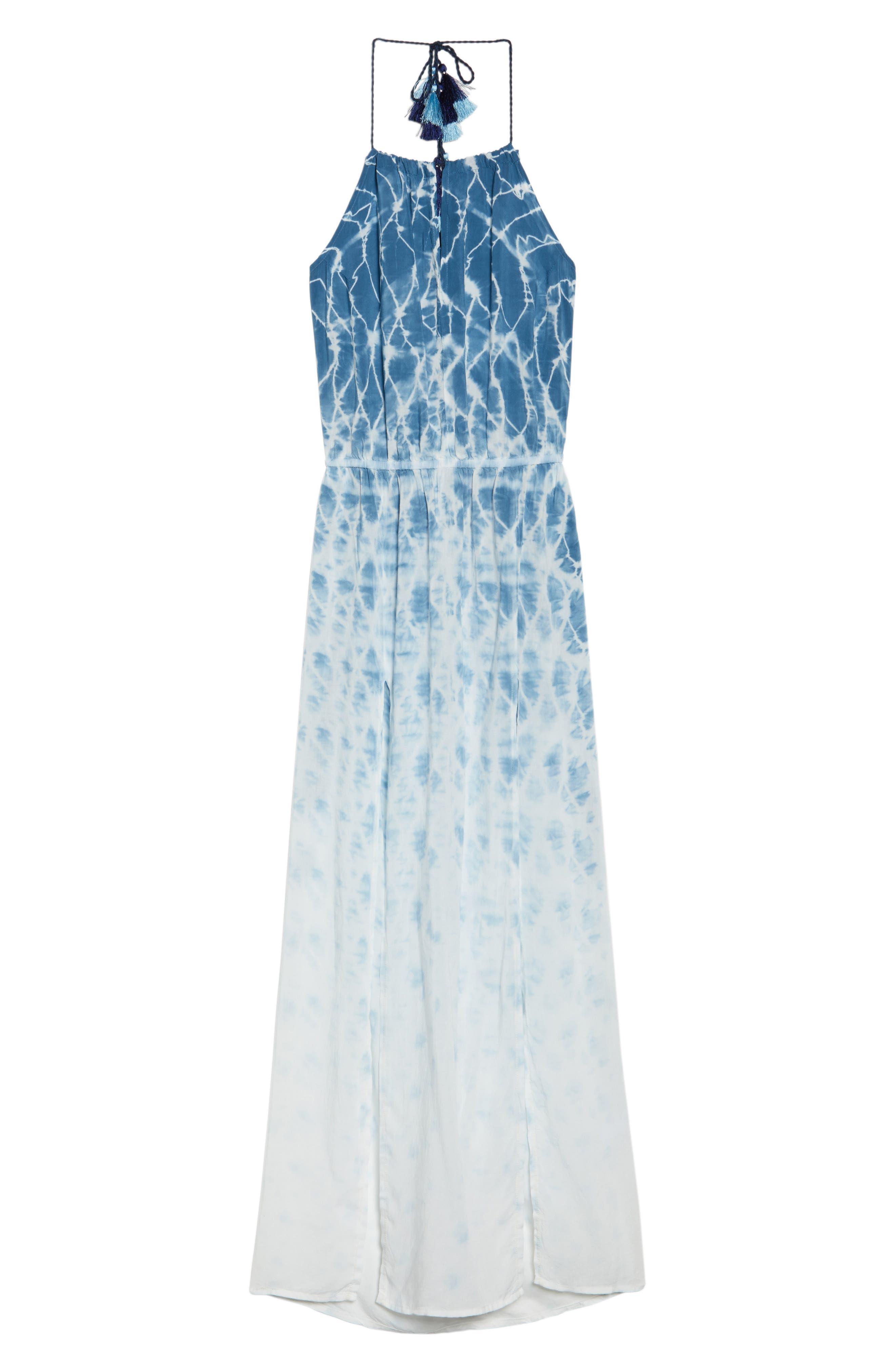 Tie Dye Halter Cover-Up Maxi Dress,                             Alternate thumbnail 6, color,                             Navy