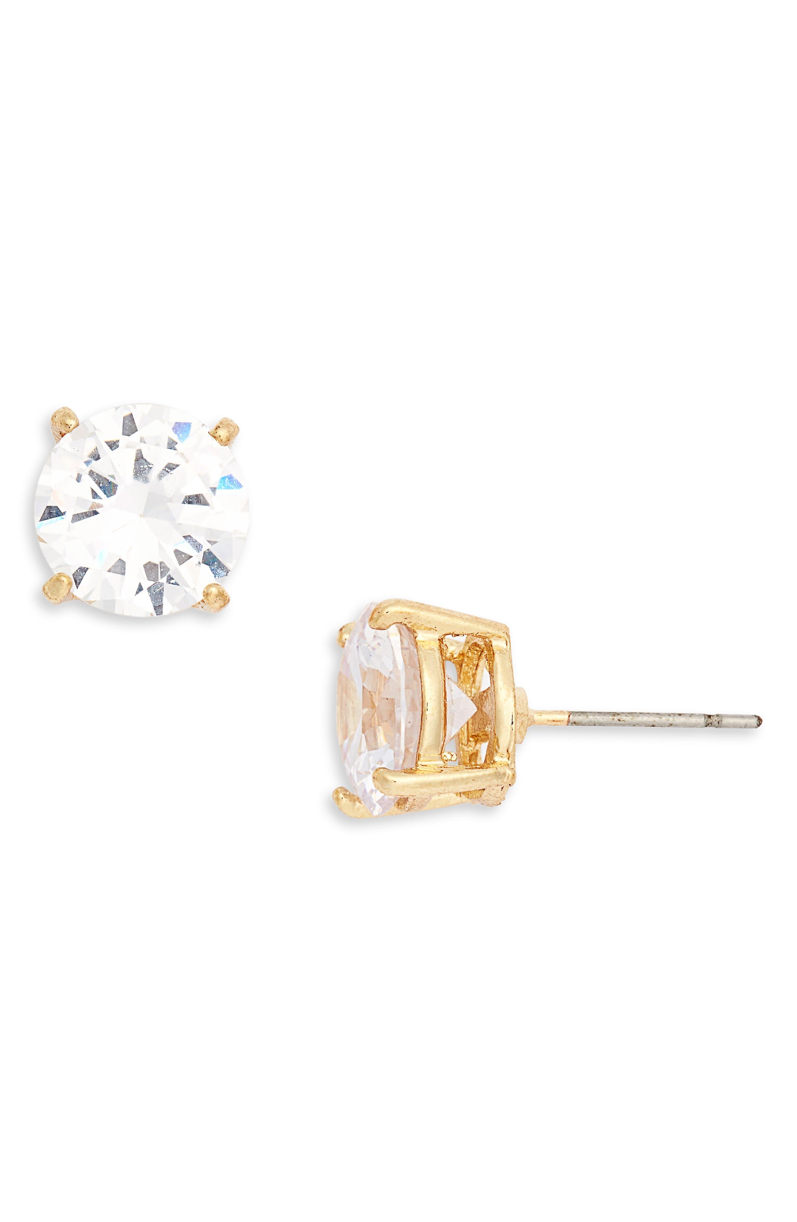 Stone Stud Earrings,                         Main,                         color, Crystal