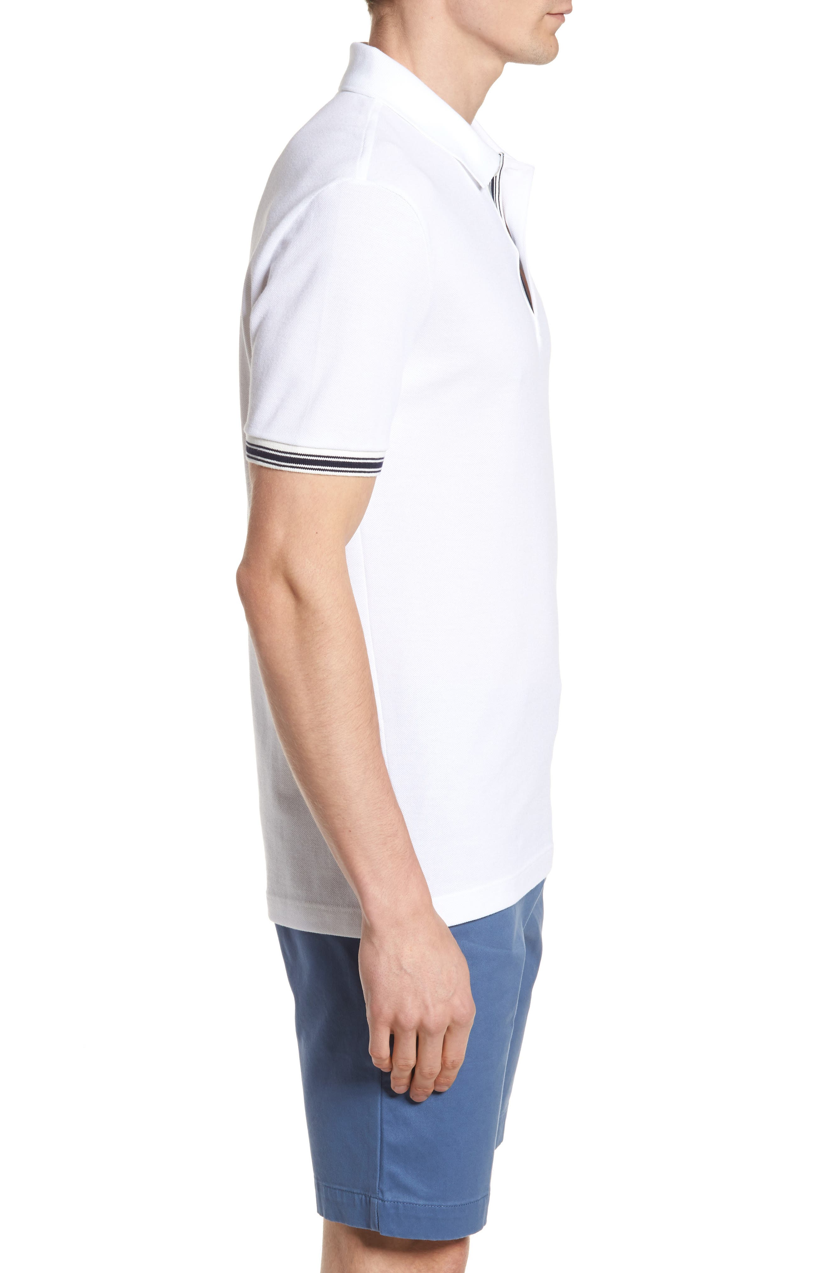 Slim Fit Stripe Sleeve Cotton Polo,                             Alternate thumbnail 3, color,                             White