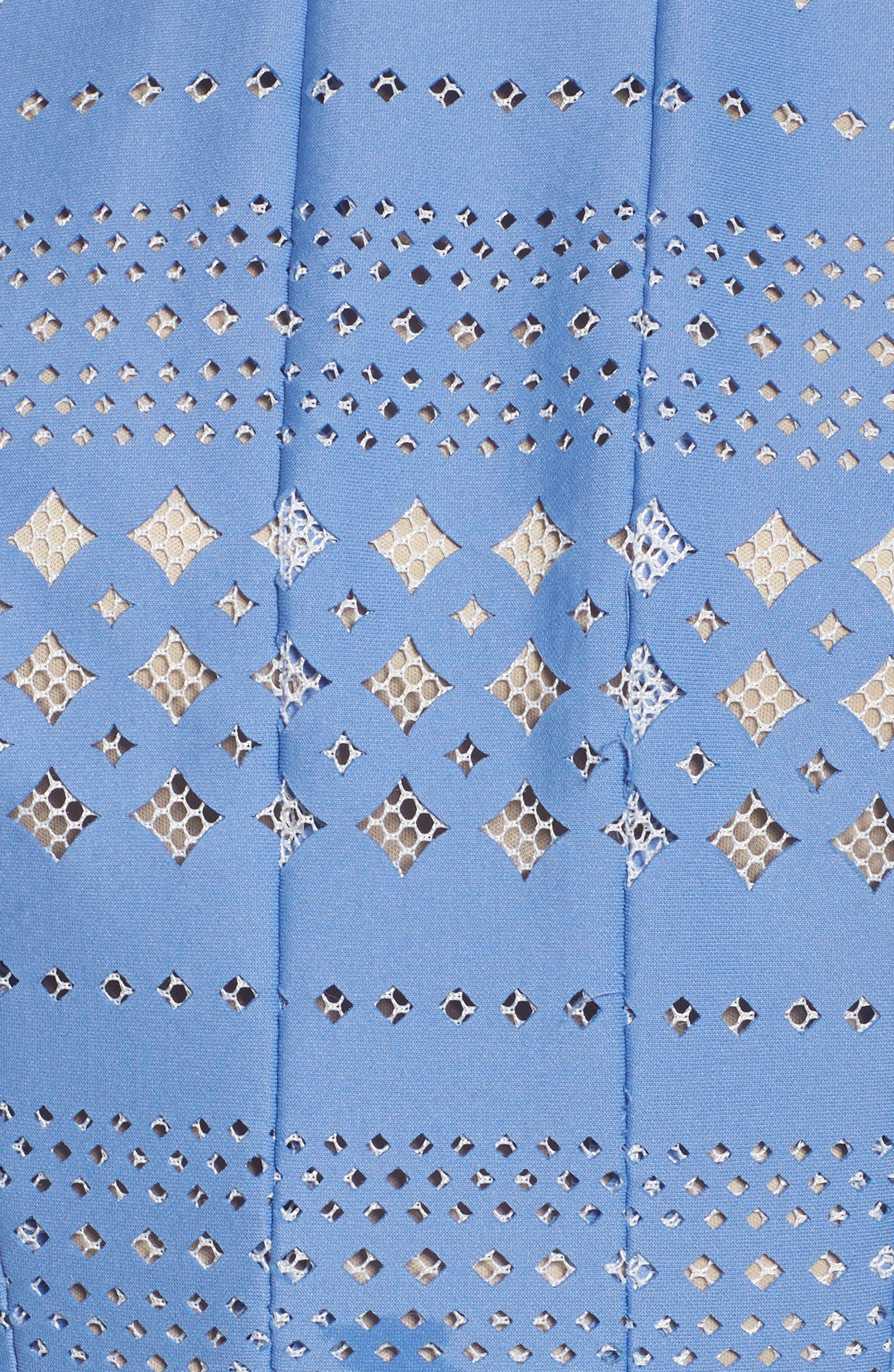 Alternate Image 5  - Eliza J Laser Cut Fit & Flare Halter Dress