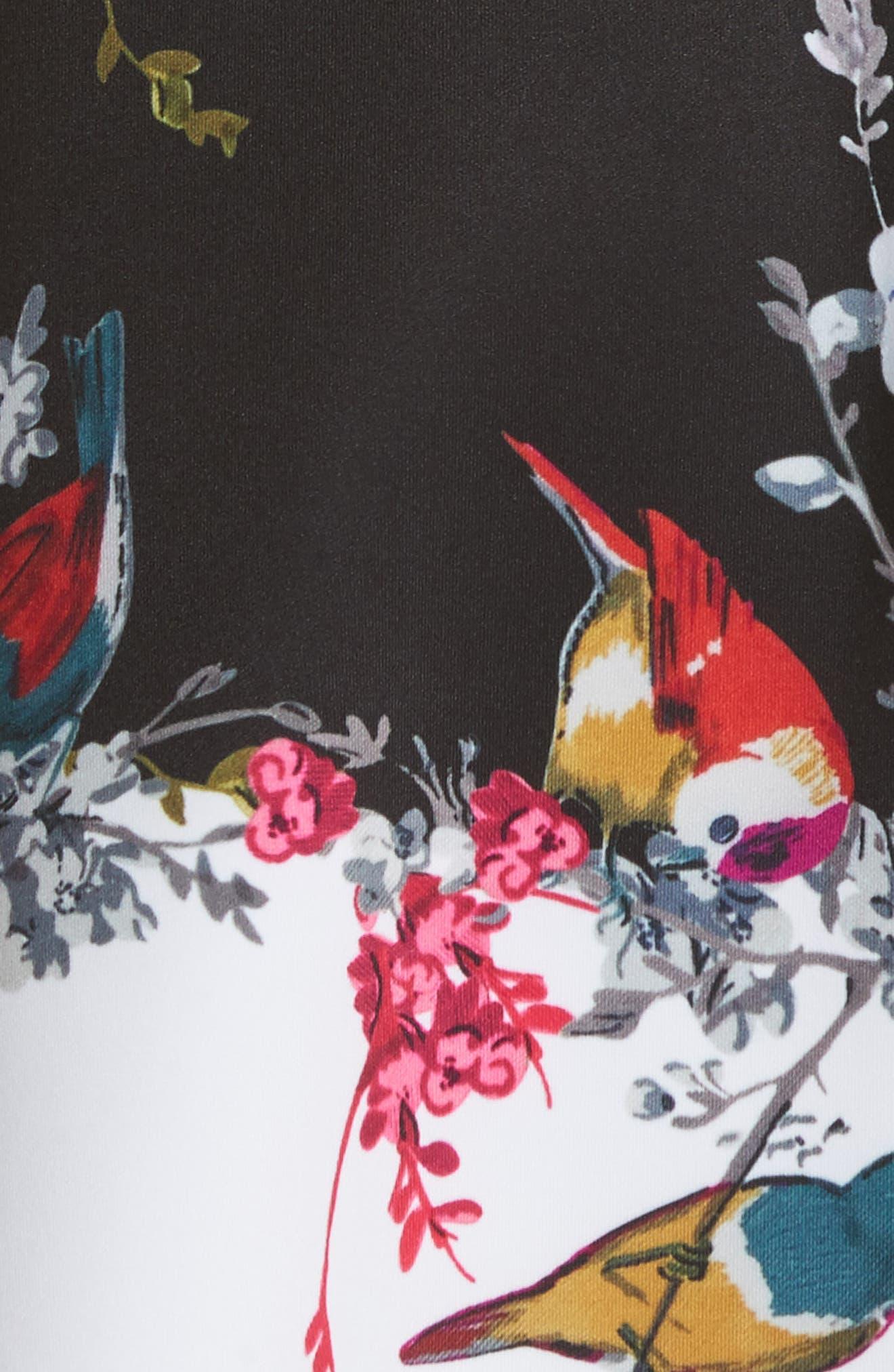 Opulent Fauna Ruffled Skater Dress,                             Alternate thumbnail 5, color,                             Black