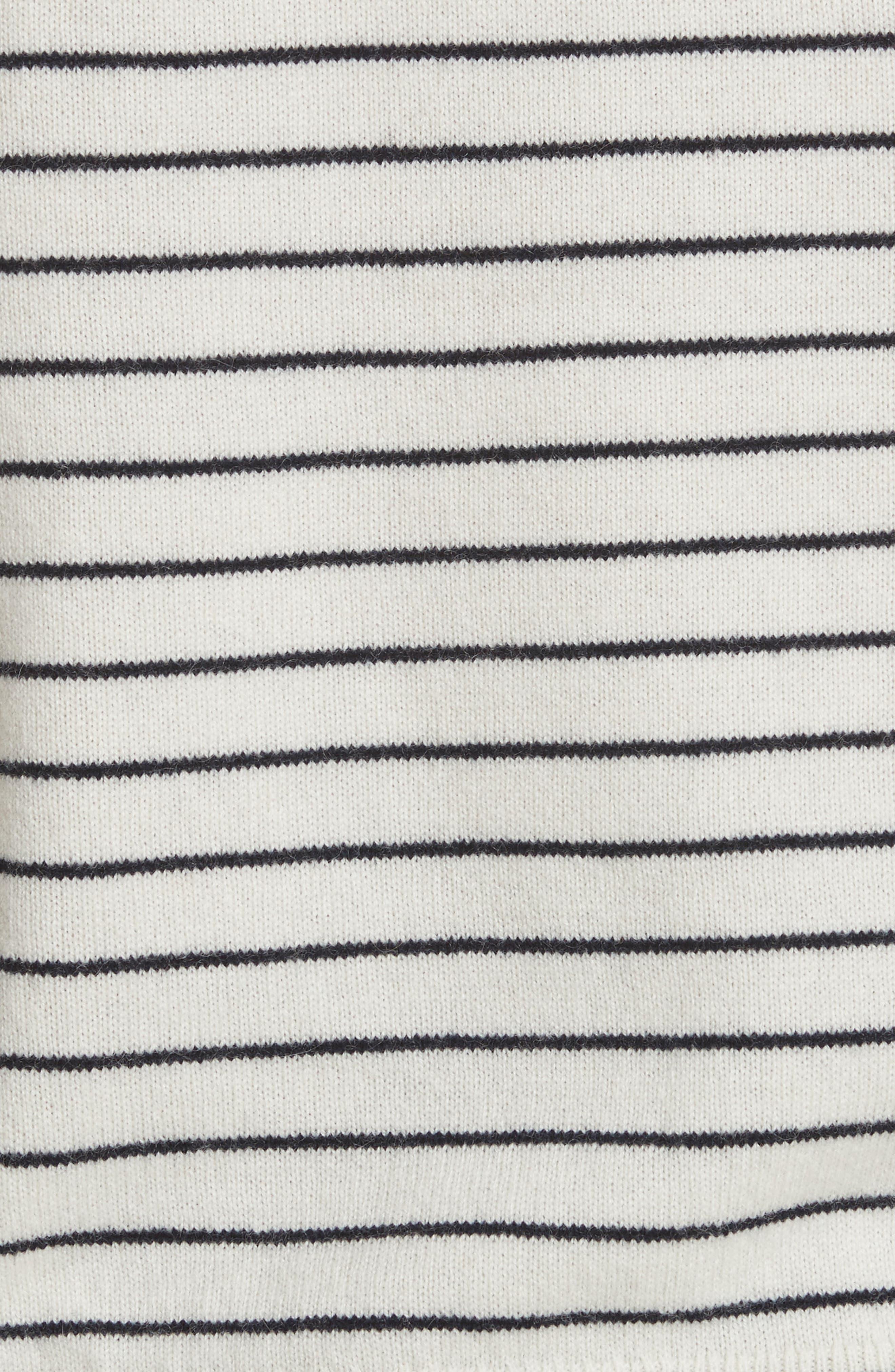 Delbin B Stripe Cold Shoulder Sweater,                             Alternate thumbnail 5, color,                             Porcelain/ Midnight