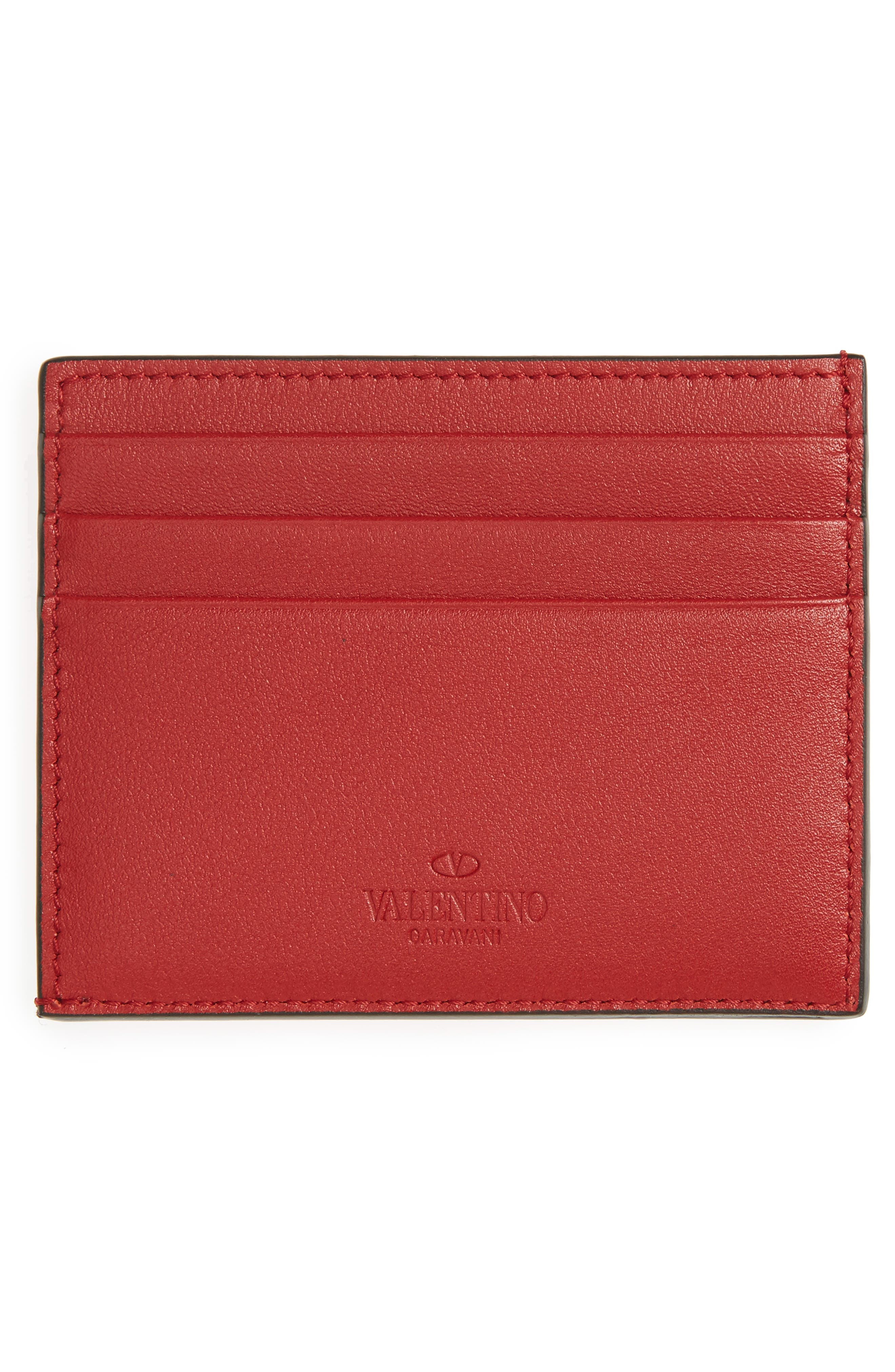 GARAVANI Mini Rock Stud Leather Card Case,                             Alternate thumbnail 2, color,                             Red