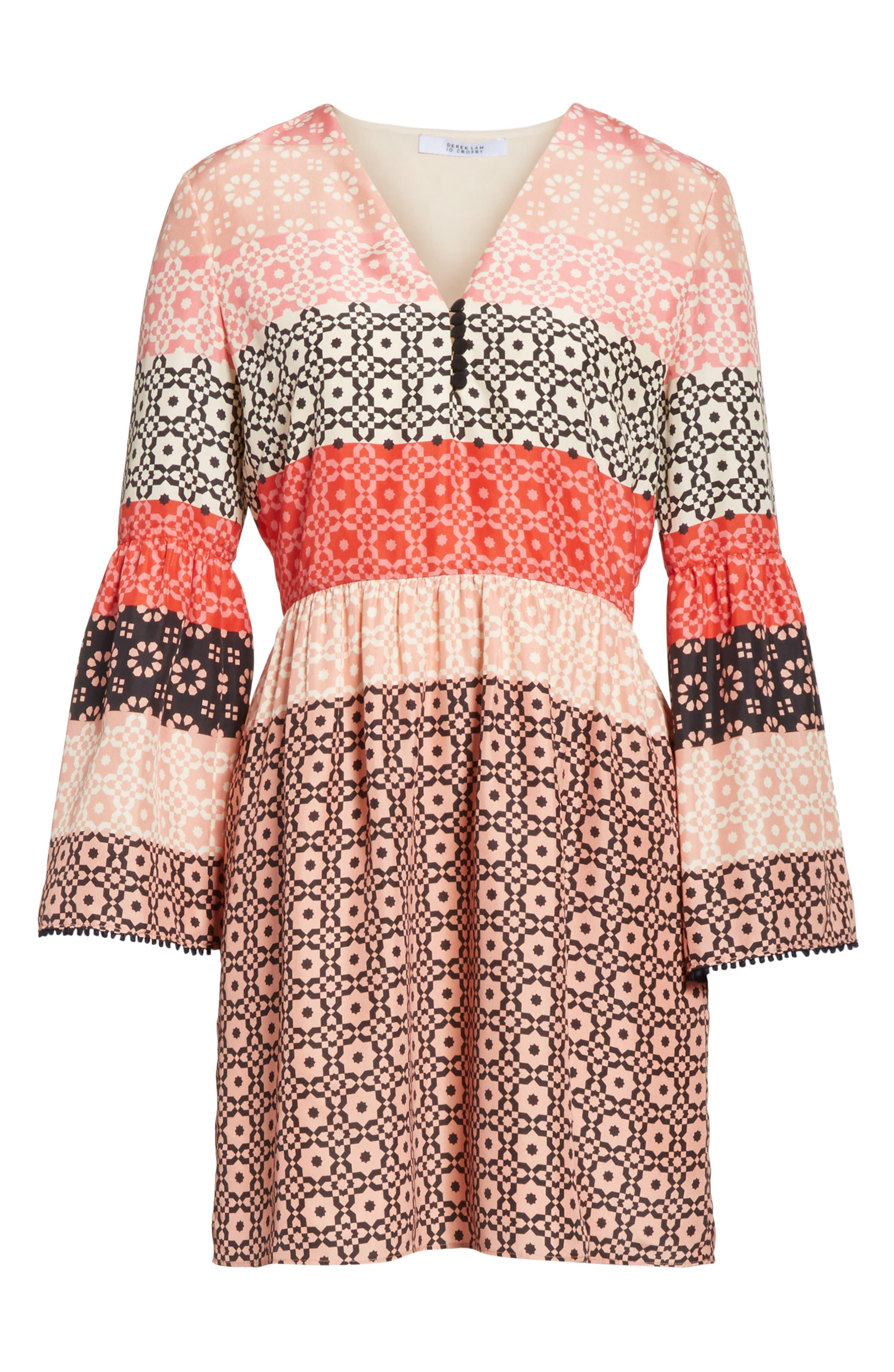 Ruffled Sleeve Print Silk Minidress,                             Alternate thumbnail 6, color,                             Carnation