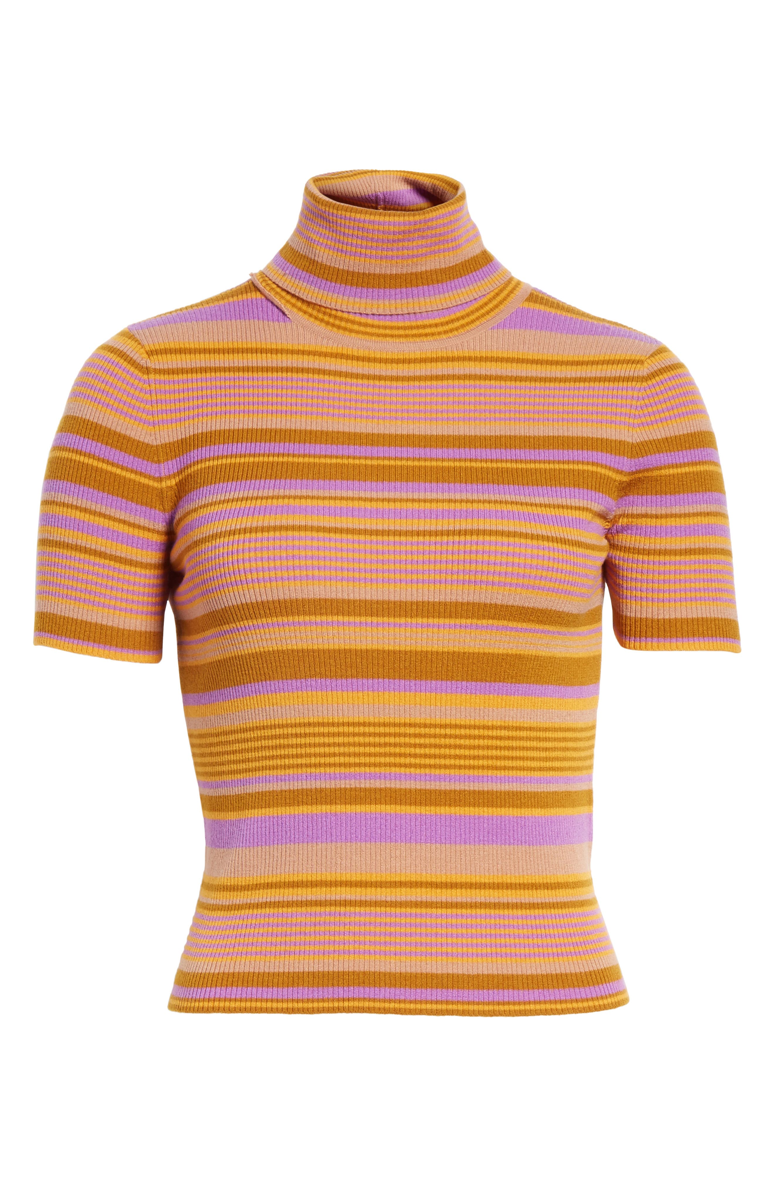Alternate Image 6  - A.L.C. Doninico Stripe Turtleneck Stretch Wool Sweater