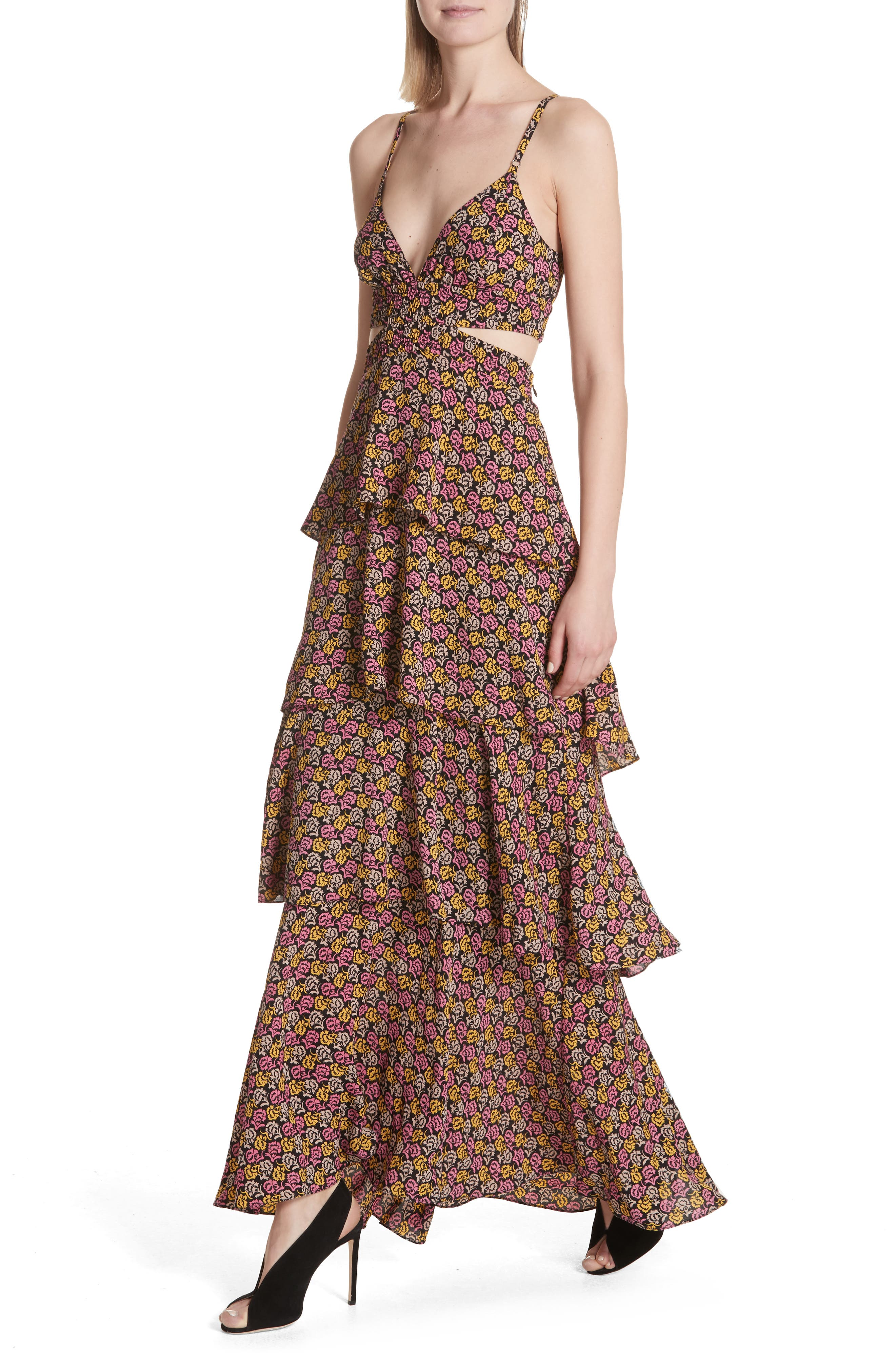 Titus Print Silk Tiered Maxi Dress,                             Alternate thumbnail 4, color,                             Pink Multi