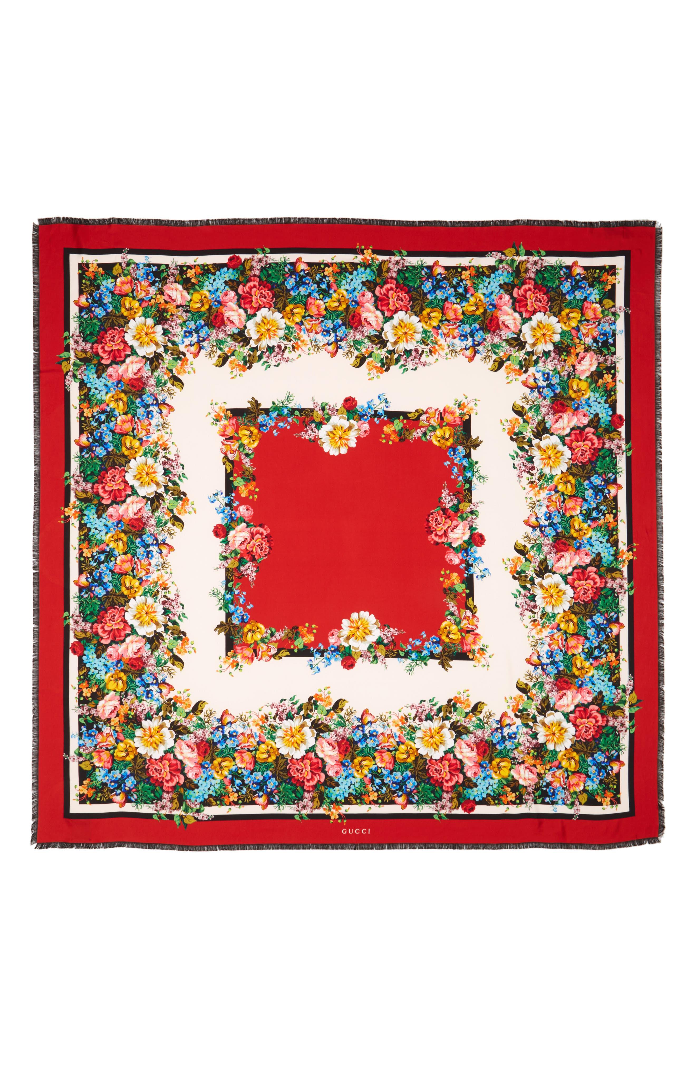 Josephine Stripe Square Silk Shawl,                             Alternate thumbnail 2, color,                             Black/ Multicolor