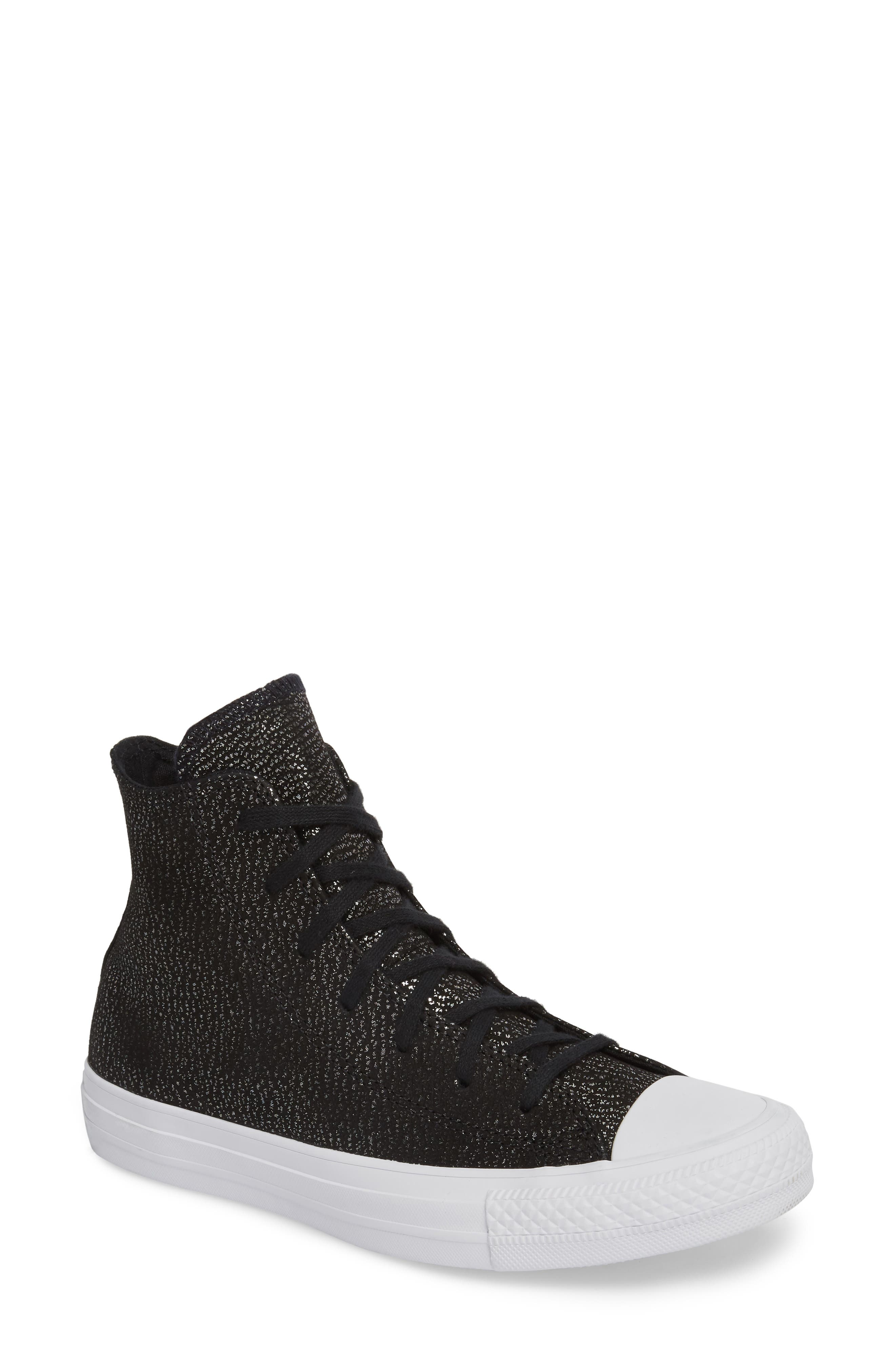 Chuck Taylor<sup>®</sup> All Star<sup>®</sup> Tipped Metallic High Top Sneaker,                             Main thumbnail 1, color,                             Black