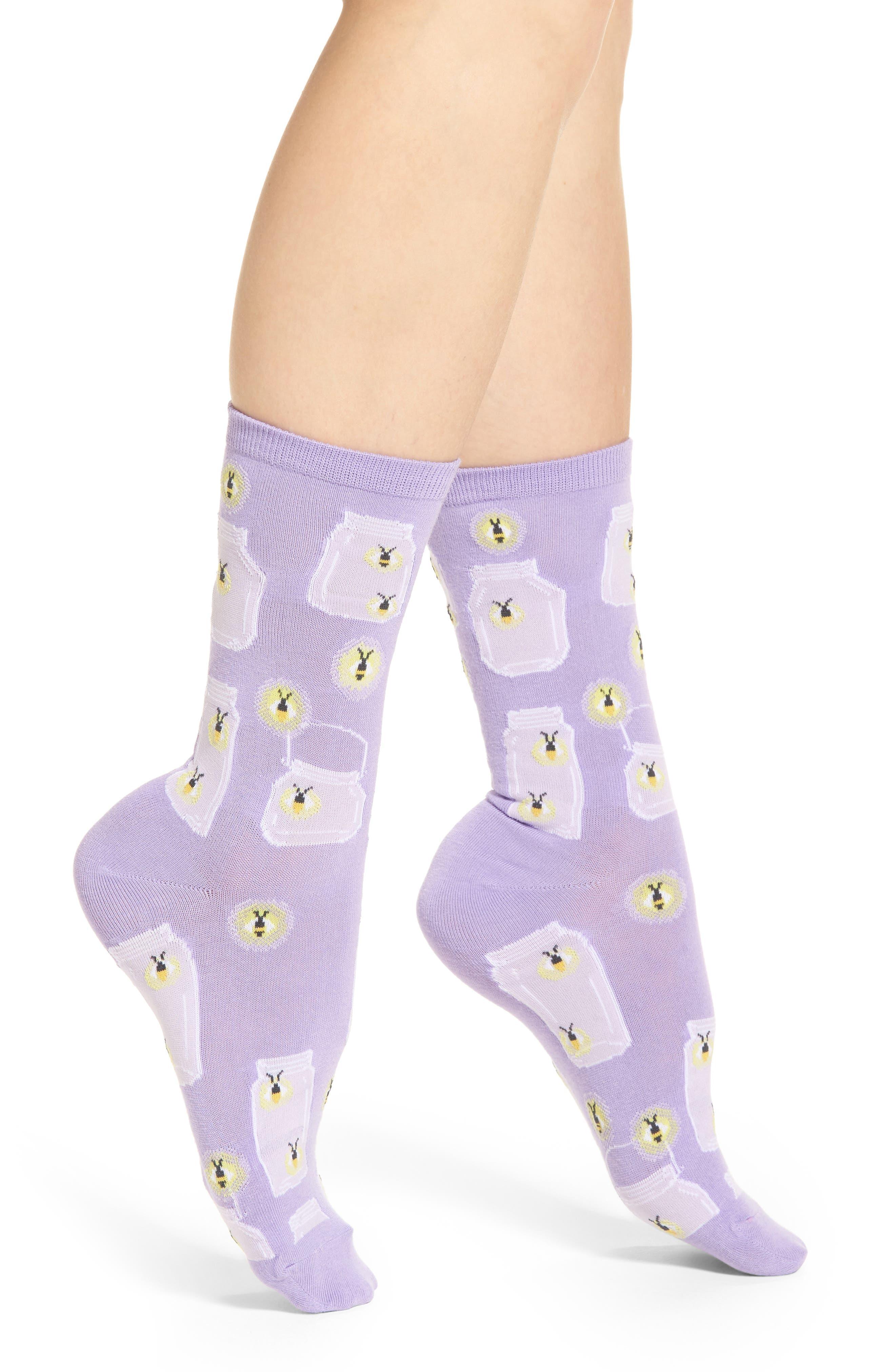 Fireflies Crew Socks,                         Main,                         color, Lavender