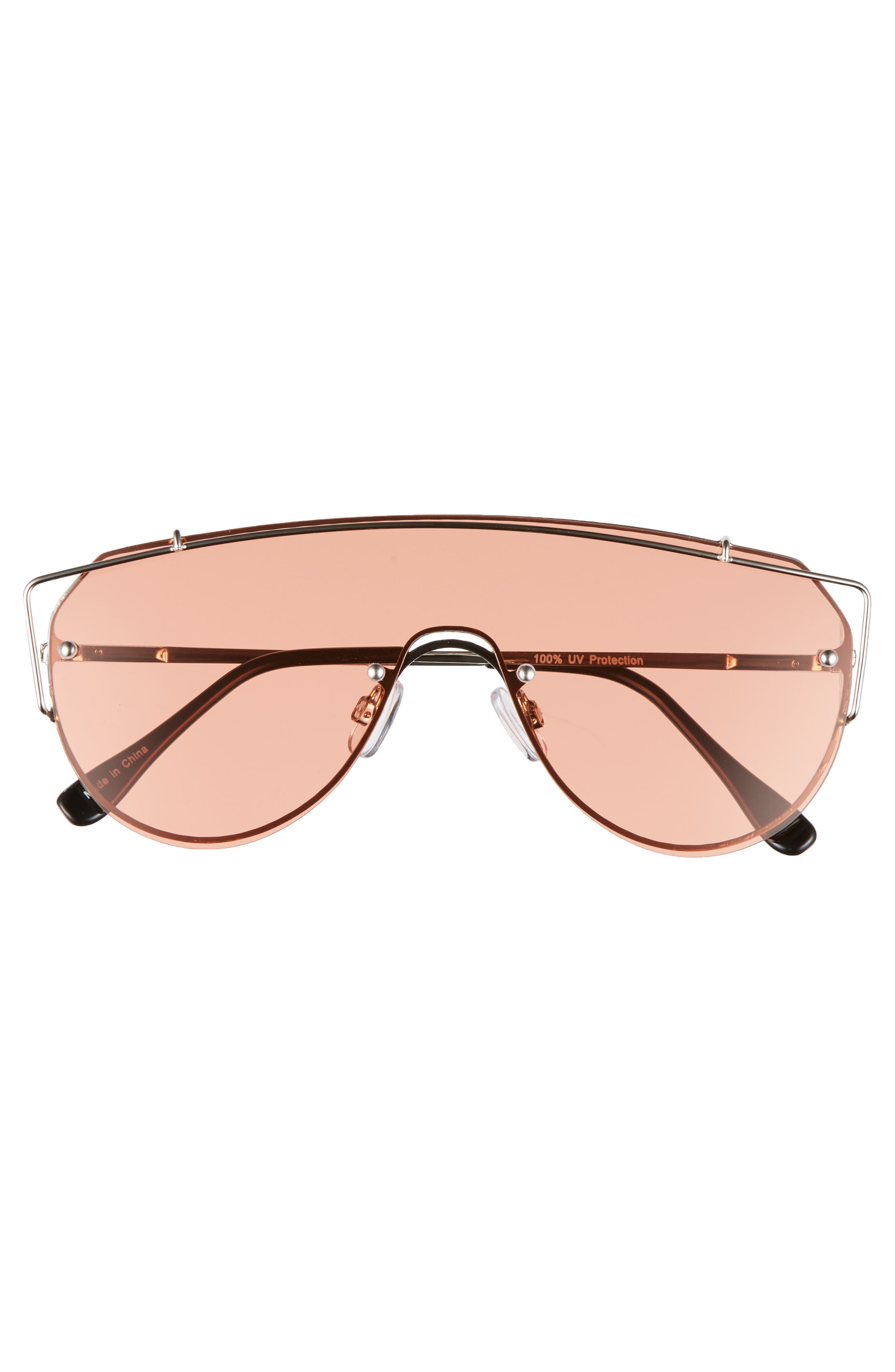 Futuristic 130mm Shield Sunglasses,                             Alternate thumbnail 3, color,                             Gold/ Pink
