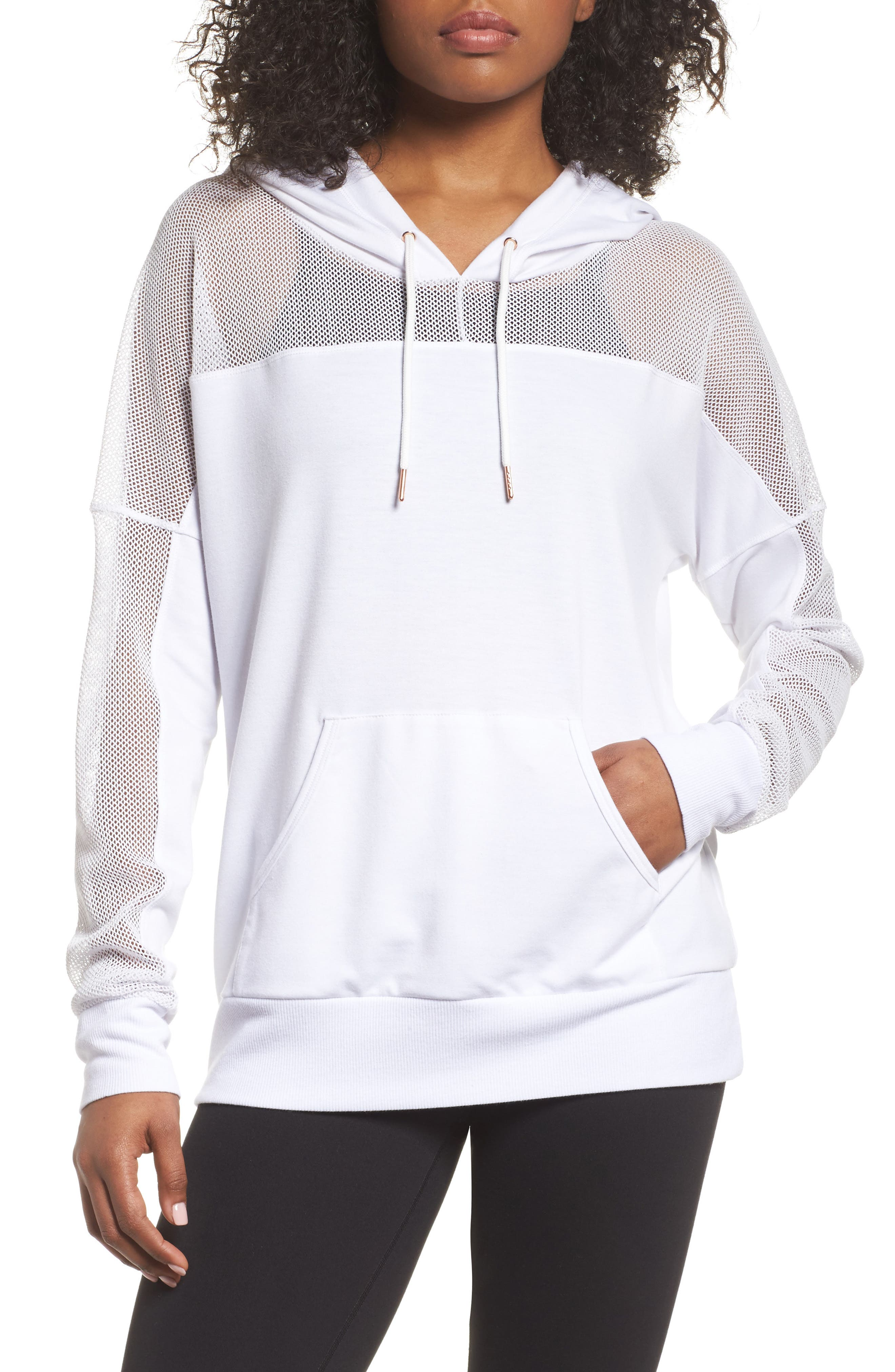 Mesh Sleeve Hoodie,                             Main thumbnail 1, color,                             White